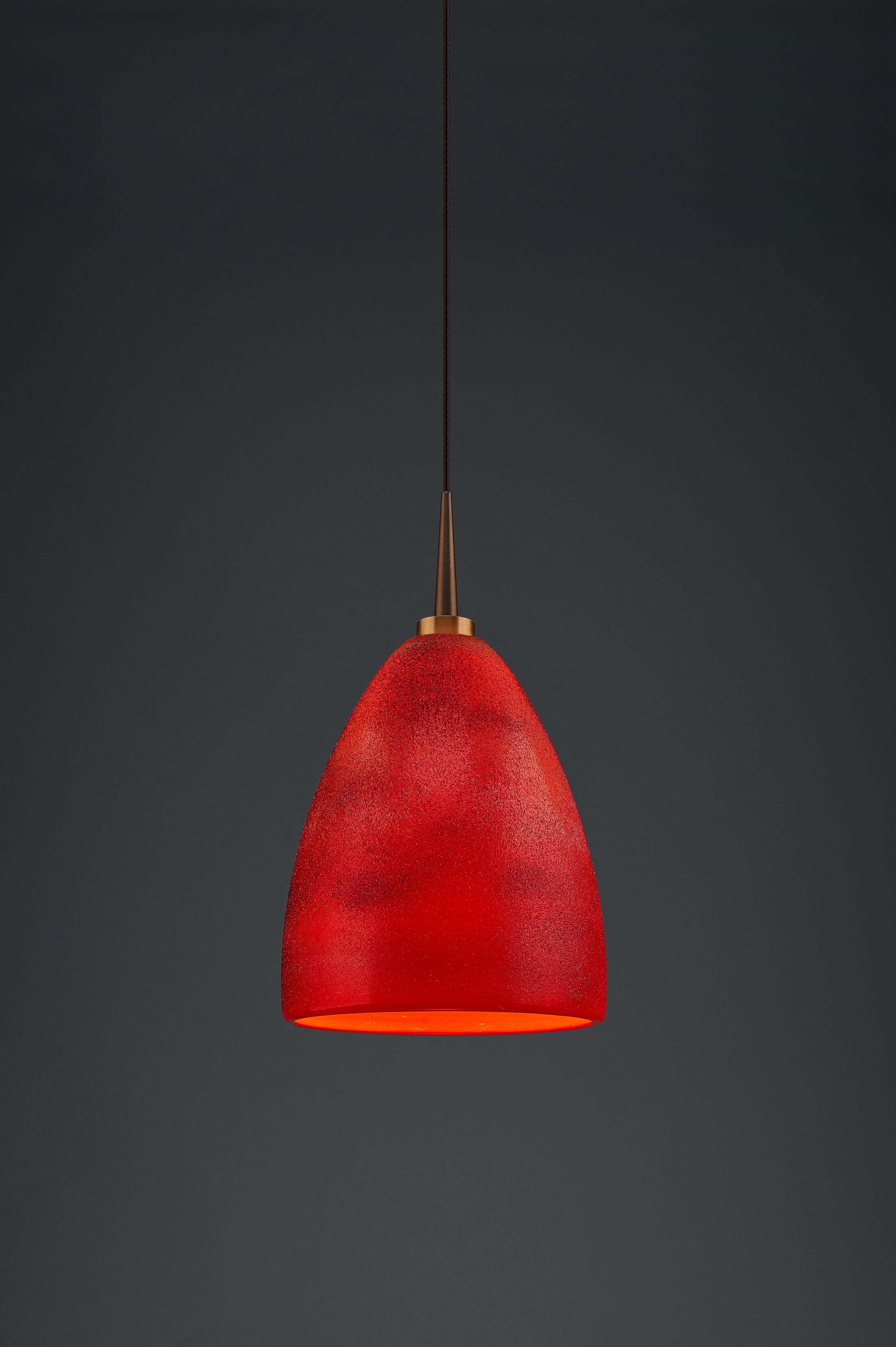 Alexander 1-Light Cone Pendant Color: Bronze, Shade Color: Red