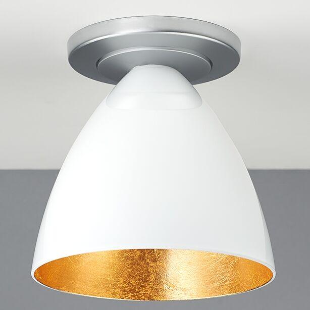 Cleo 1-Light Flush Mount Color: Matte Chrome, Interior Shade Color: Gold