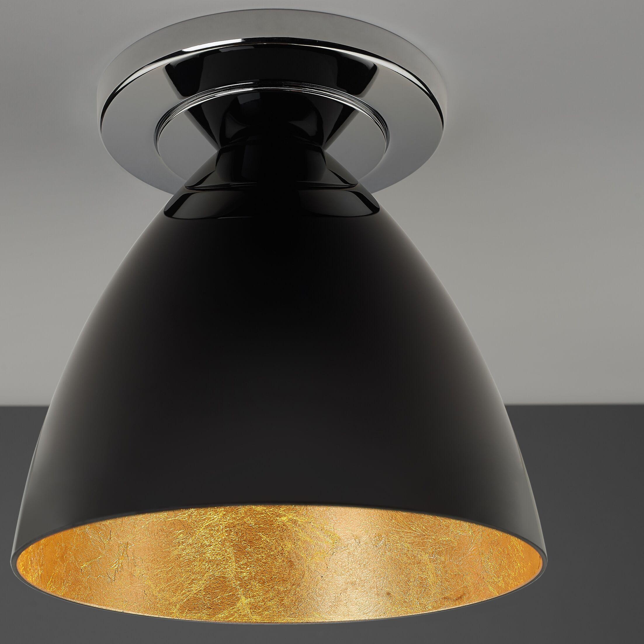 Cleo 1-Light Flush Mount Color: Chrome, Interior Shade Color: Gold