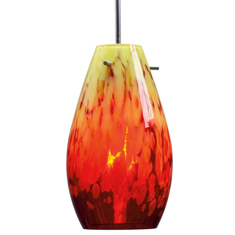 Soho Mono Point Pendant Light Color: Chrome, Bulb Type: Line Voltage Incandescent, Shade Color: Yellow and Red