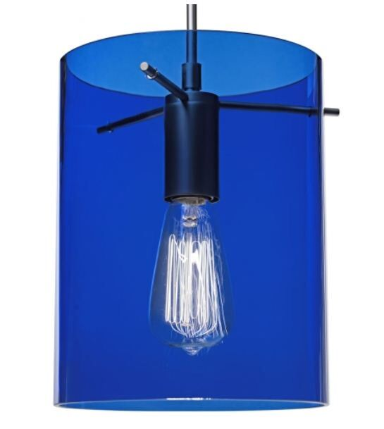 London 1-Light Cylinder Pendant Shade Color: Blue, Color: Matte Chrome