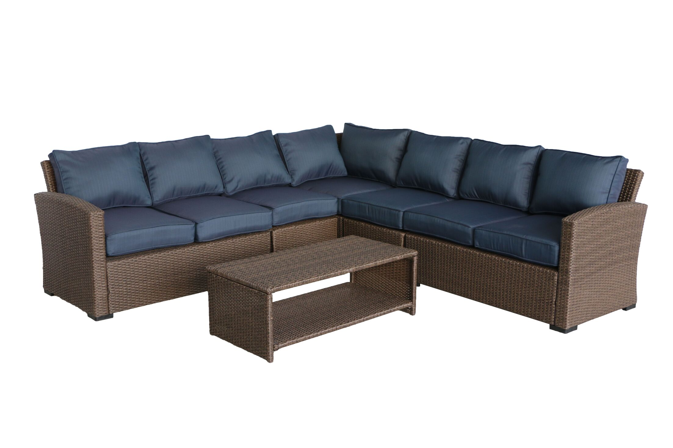 Behan 6 Piece Sectional Set with Cushions Cushion Color: Ribbed Navy