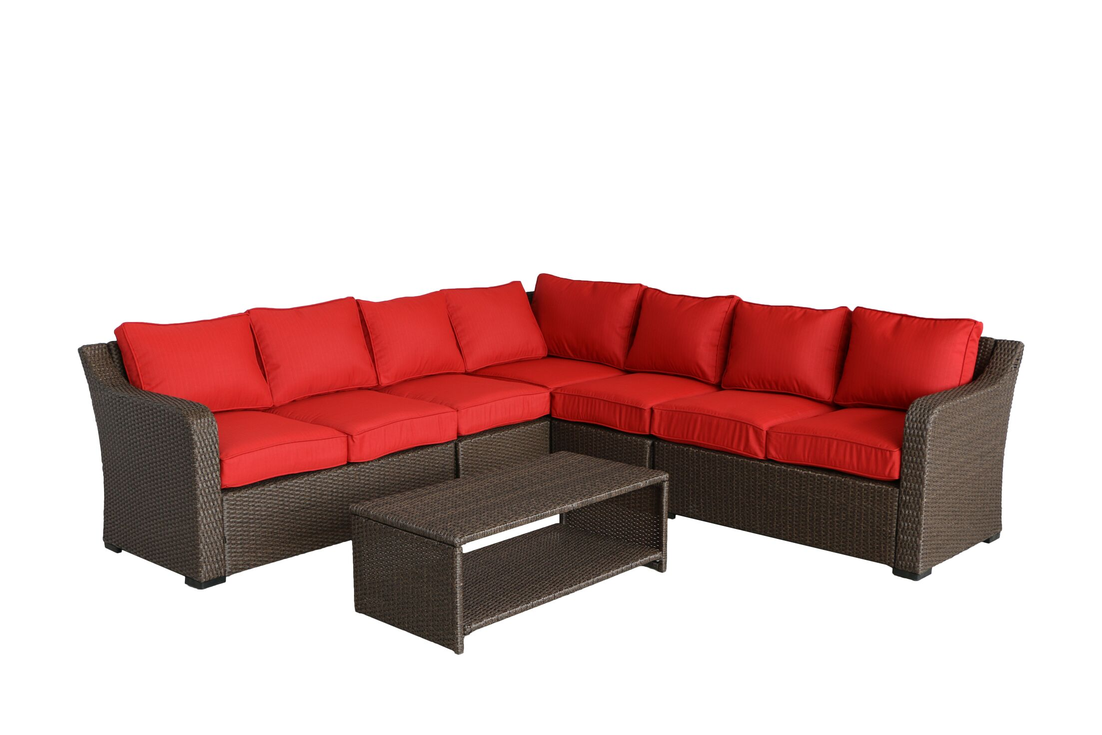 Danby 6 Piece Sectional Set with Cushions Cushion Color: Ribbed Strawberry