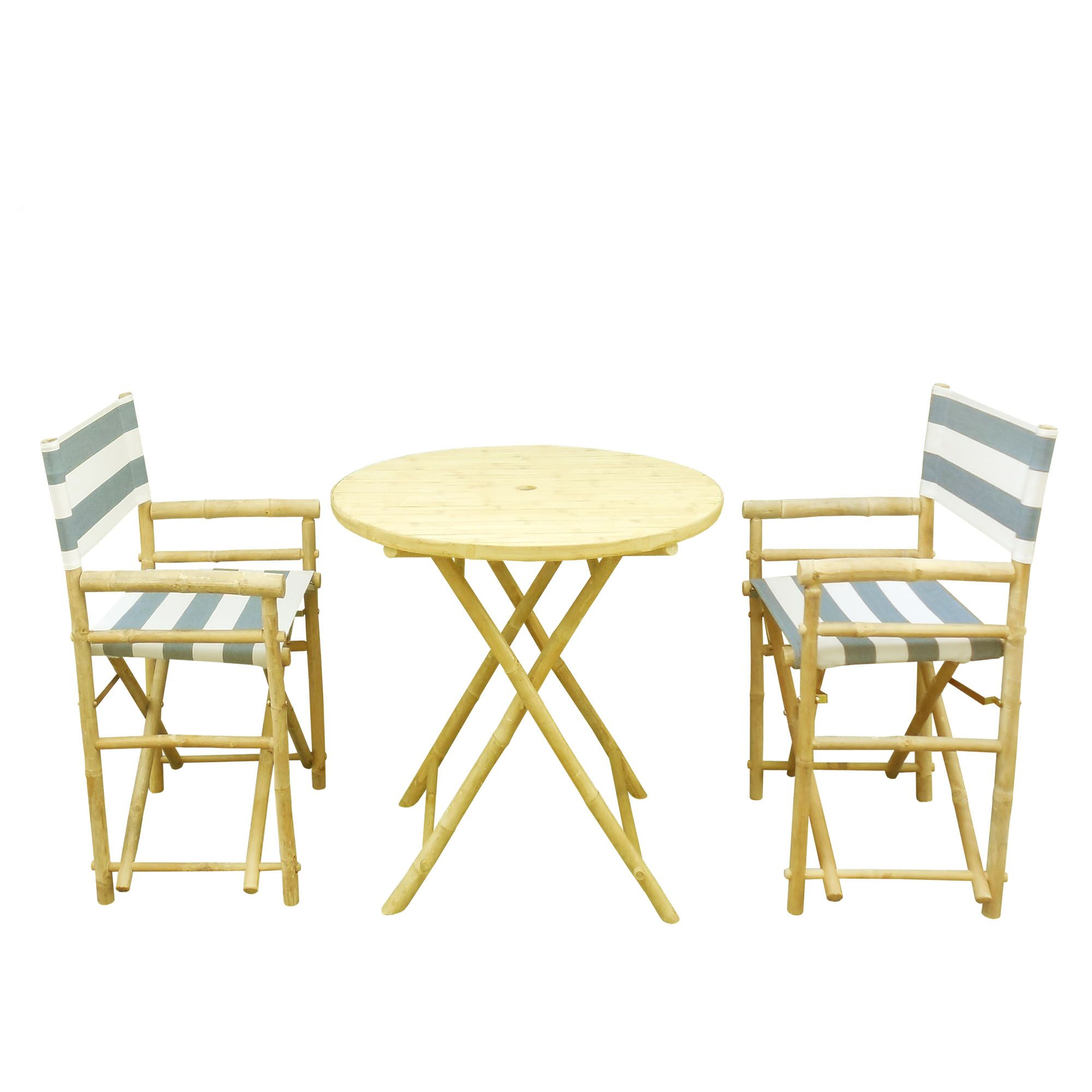 Bamboo 3 Piece Outdoor Dinning Set Color: Navy and White