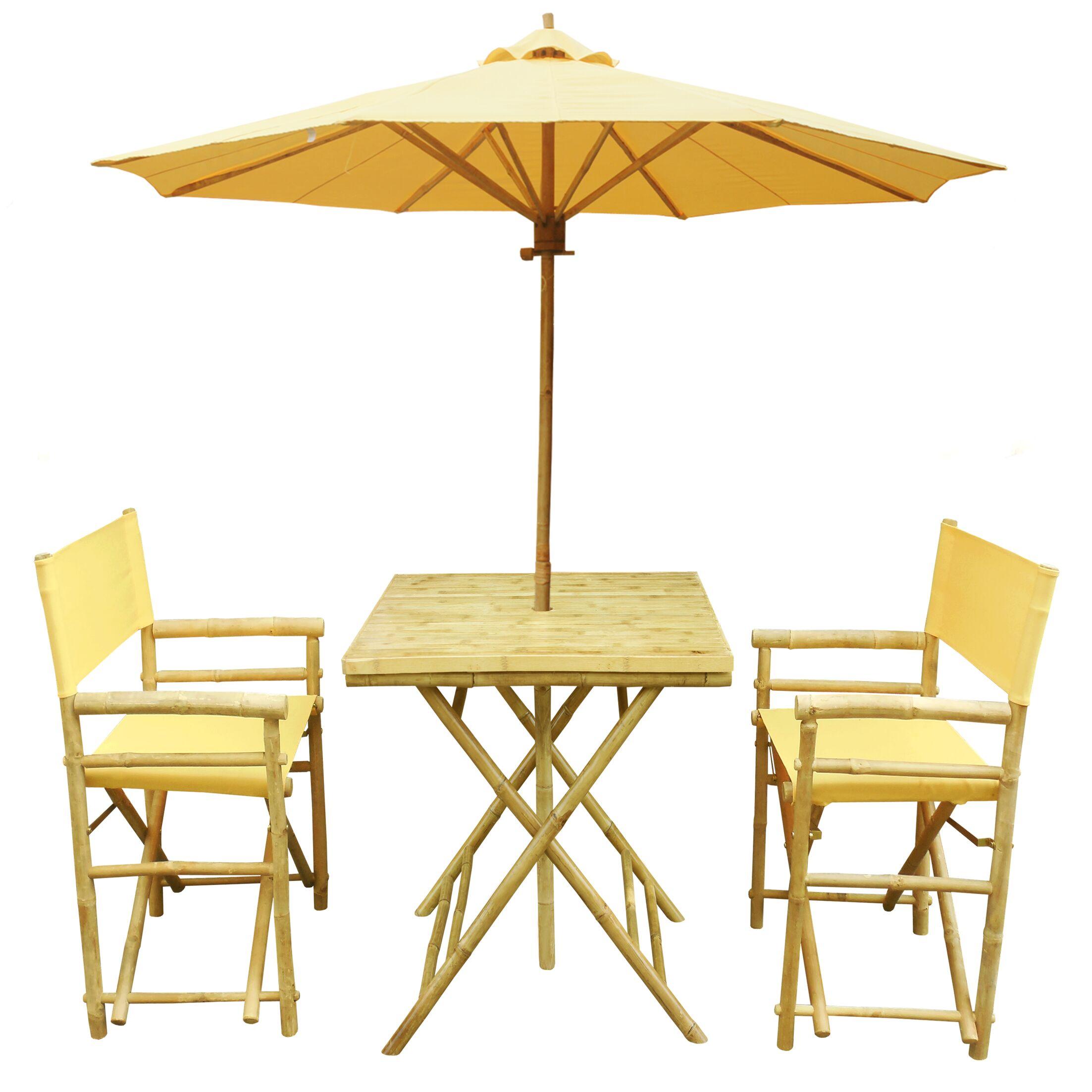Sinta Bamboo 3 Piece Bistro Set with Umbrella Color: Yellow