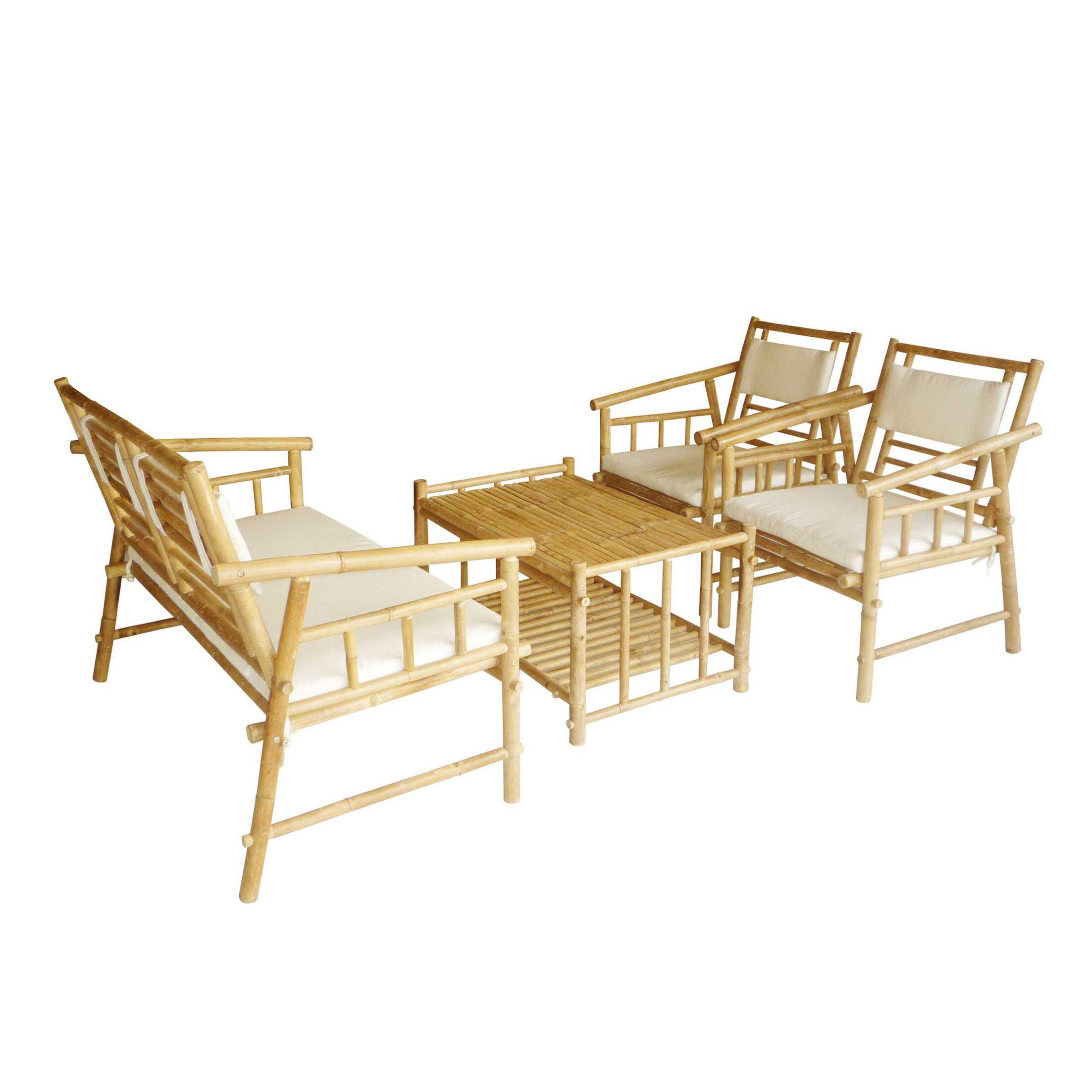Bamboo 4 Piece Sofa Set with Cushions