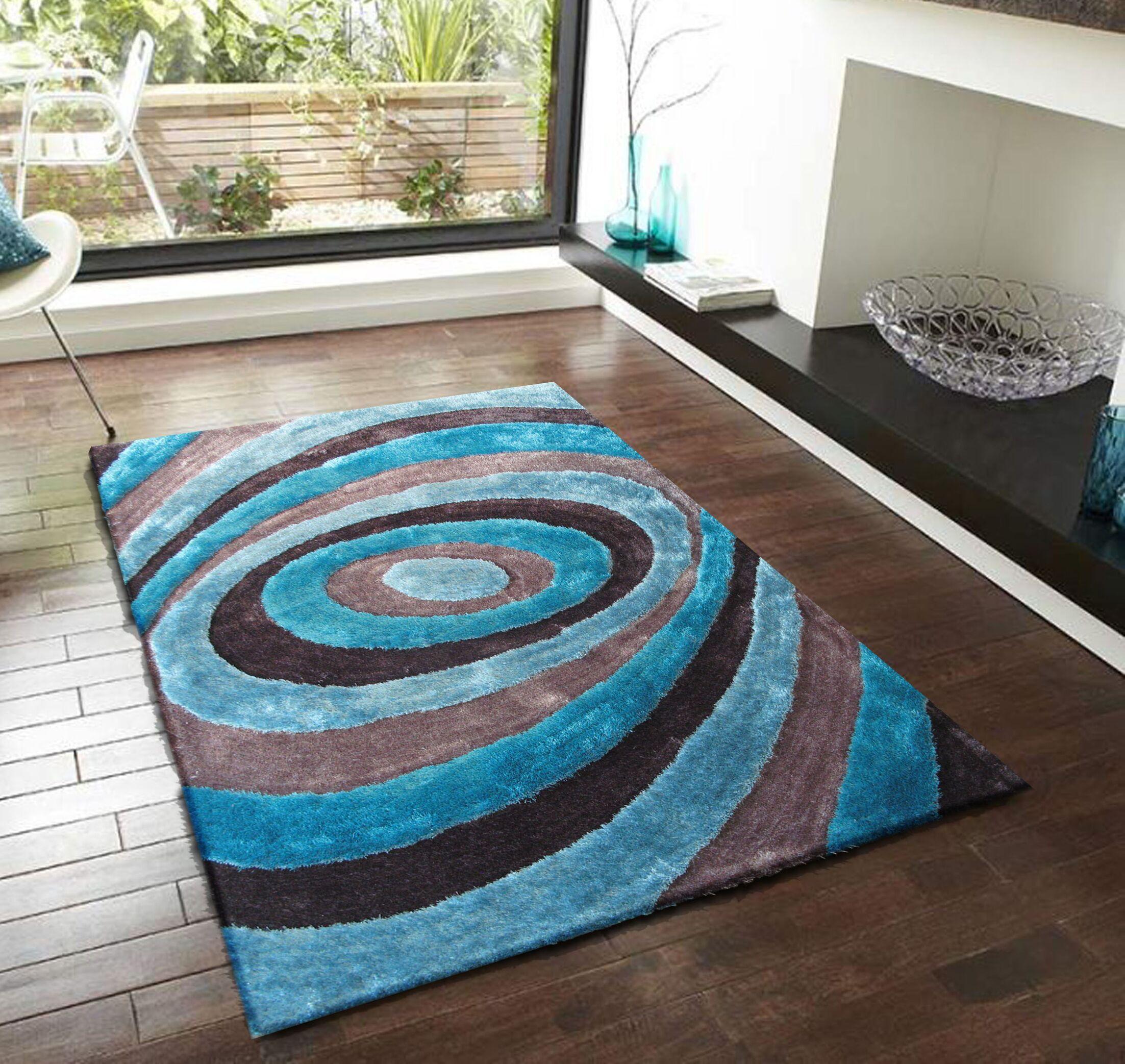 Orme Shaggy Hand-Tufted Gray/Blue Area Rug Rug Size: Rectangle 4' x 5'4