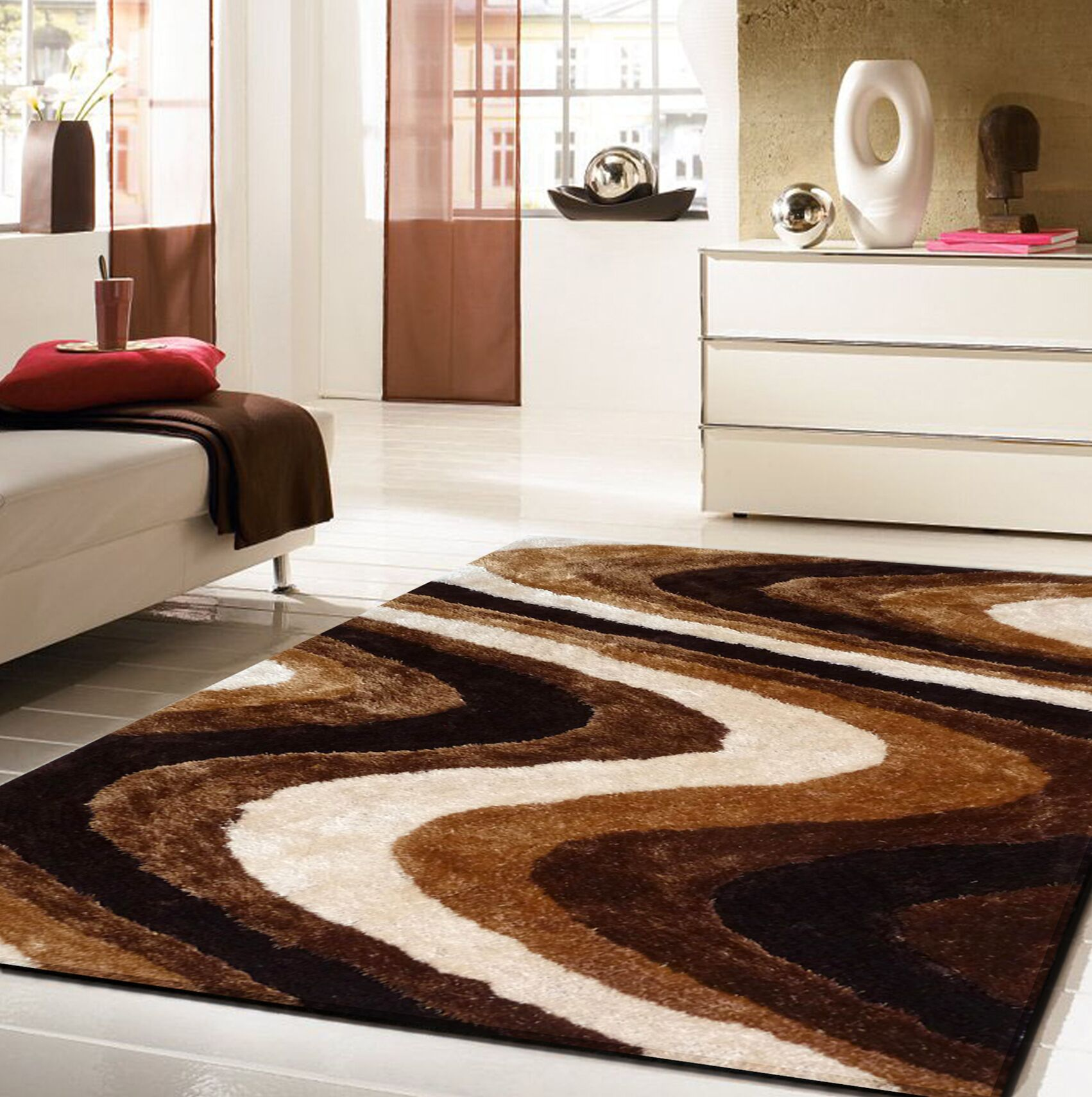 Quijada Hand-Tufted Brown Area Rug