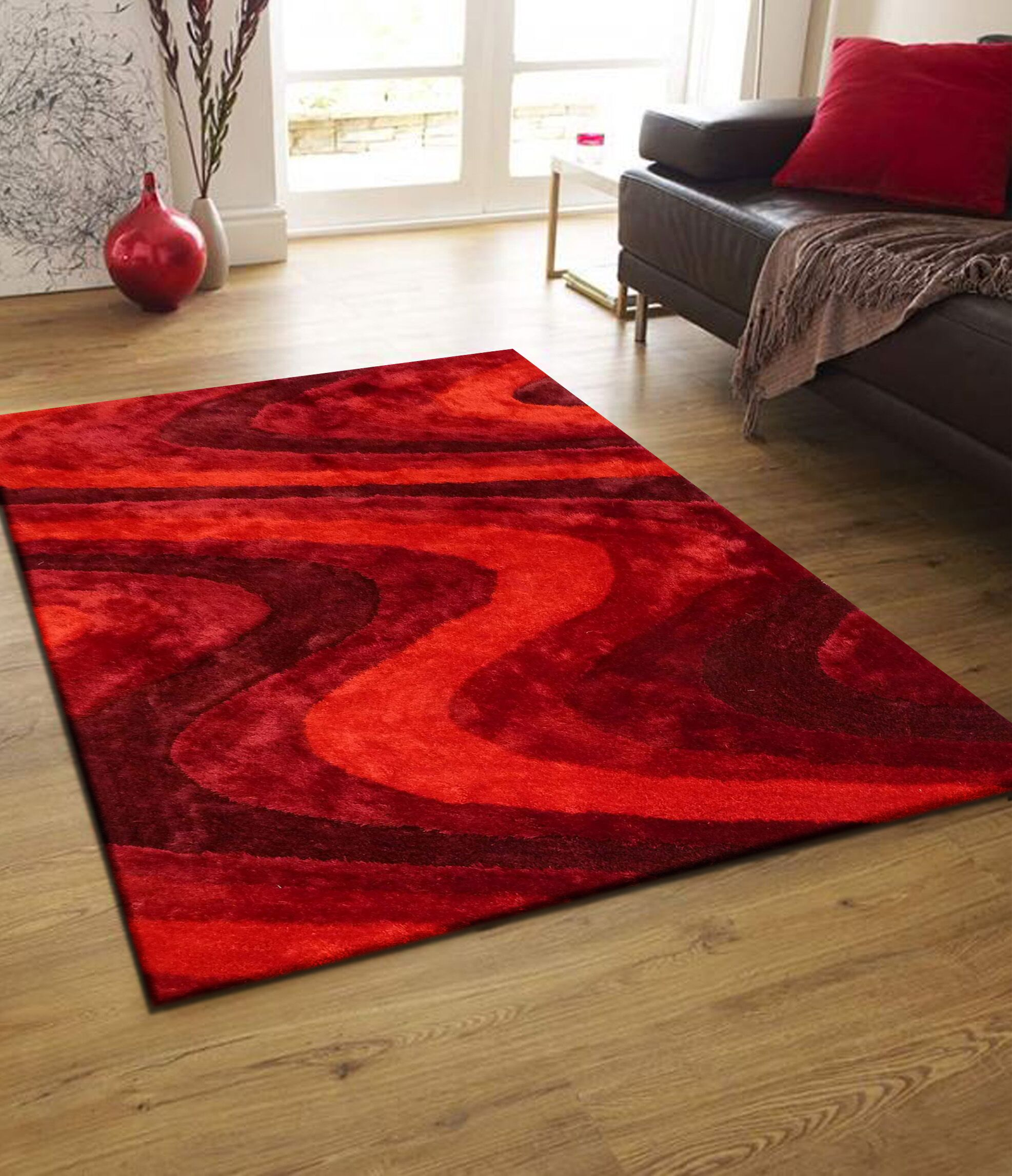 Quijada Hand-Tufted Red Area Rug