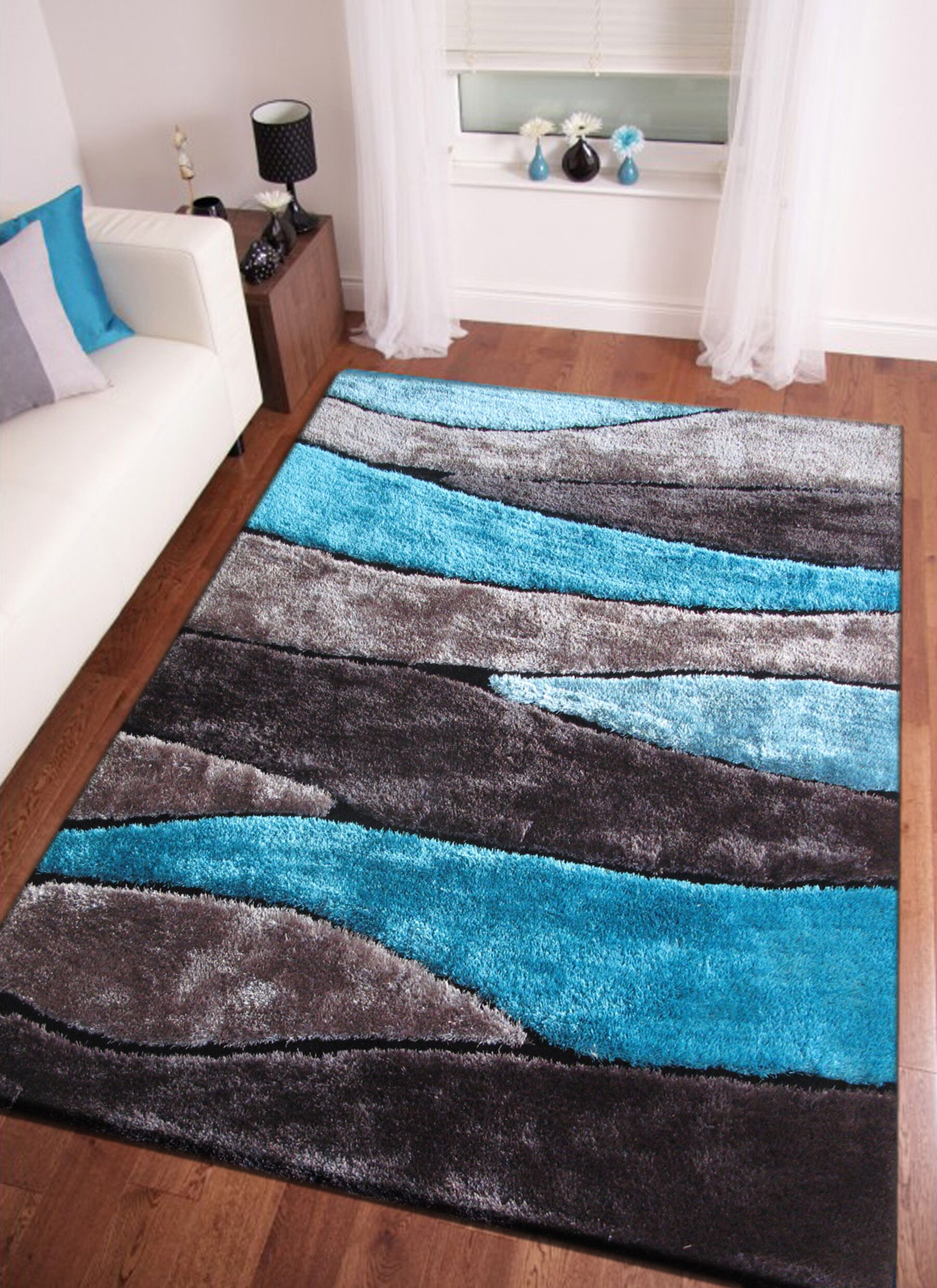 Owings Shaggy Hand-Tufted Gray/Blue Area Rug Rug Size: Rectangle 7'6