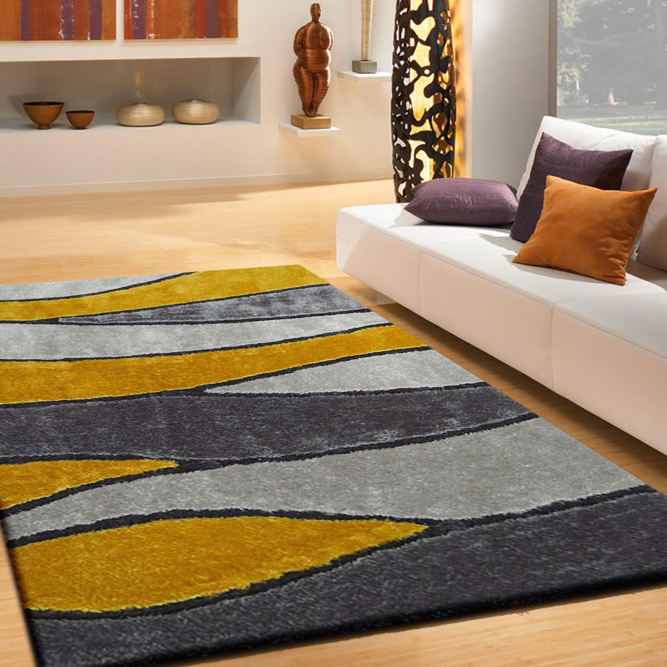 Quintanar Hand-Tufted Gray/Yellow Area Rug