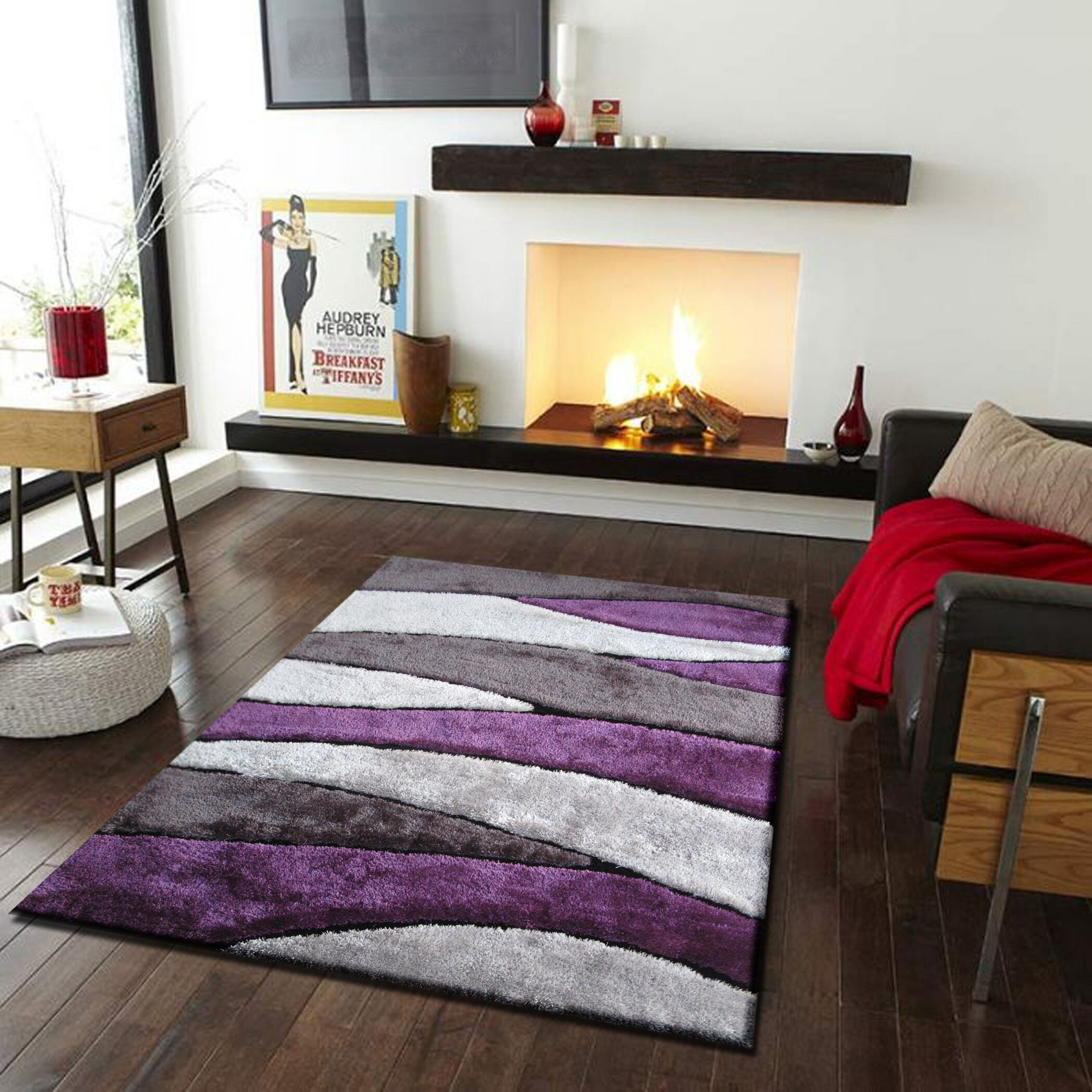 Quintanar Hand-Tufted Gray/Purple Area Rug