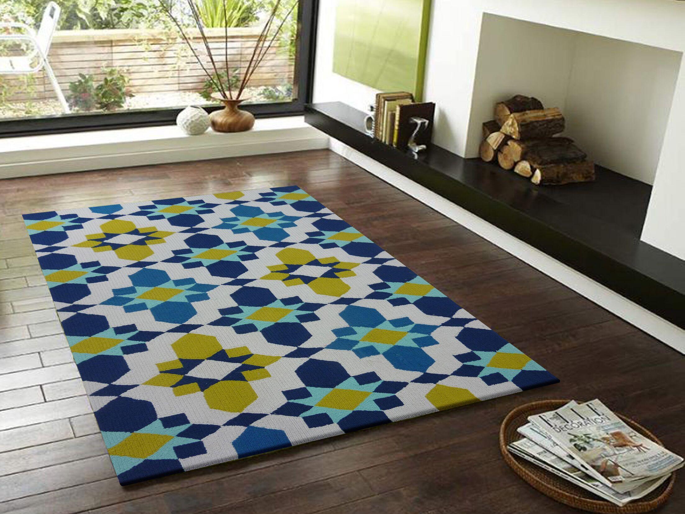 Vivid Blue/Yellow Indoor/Outdoor Area Rug Rug Size: Rectangle 6'6