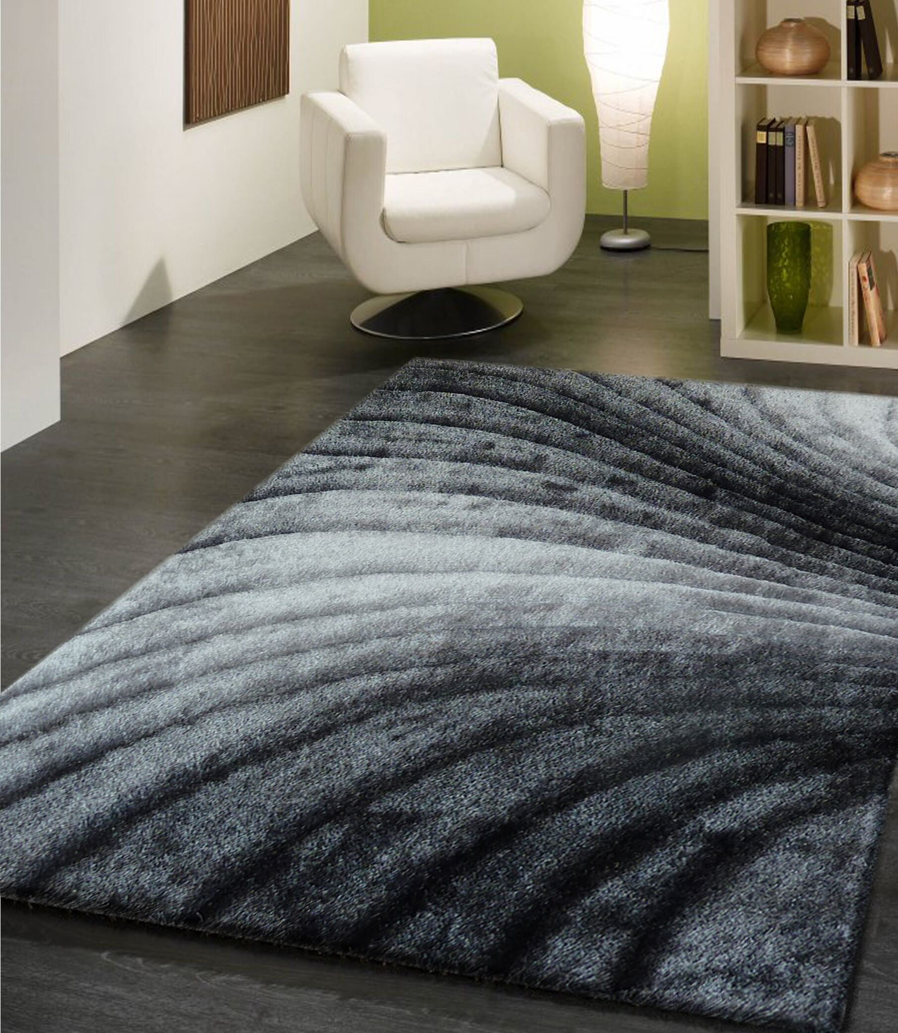 Pavonia Hand-Tufted Gray Area Rug Rug Size: Rectangle 7'6