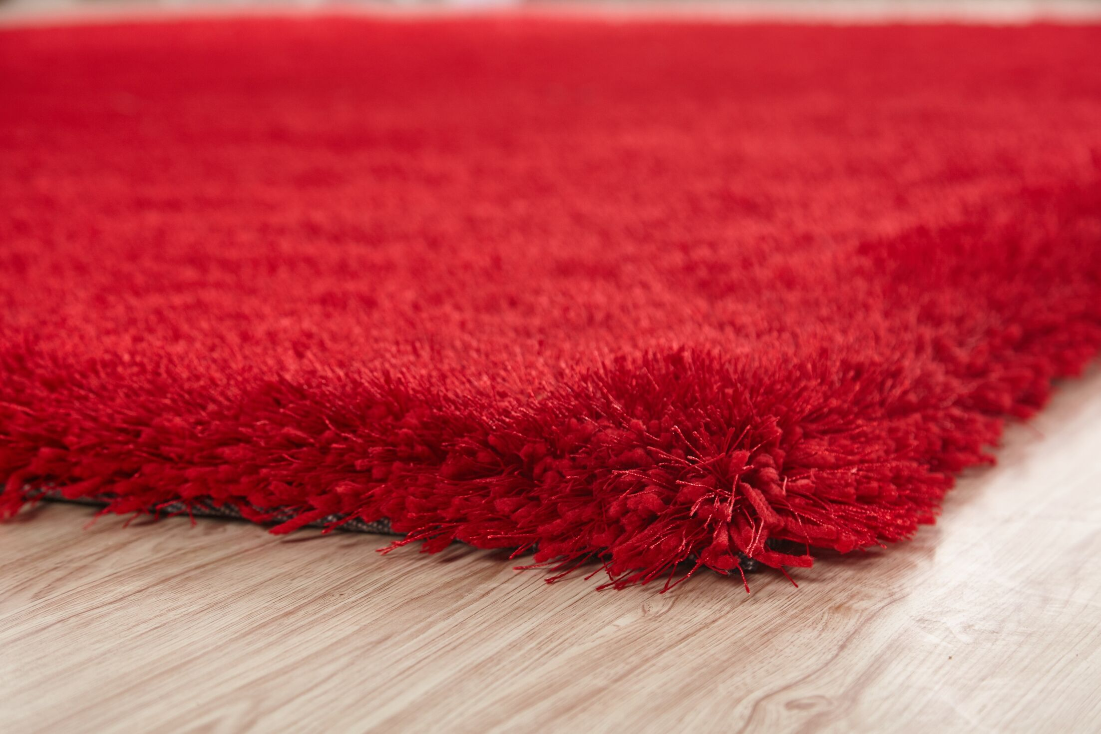 Heineman Solid Shag Hand-Tufted Red Area Rug Rug Size: Rectangle 7'6