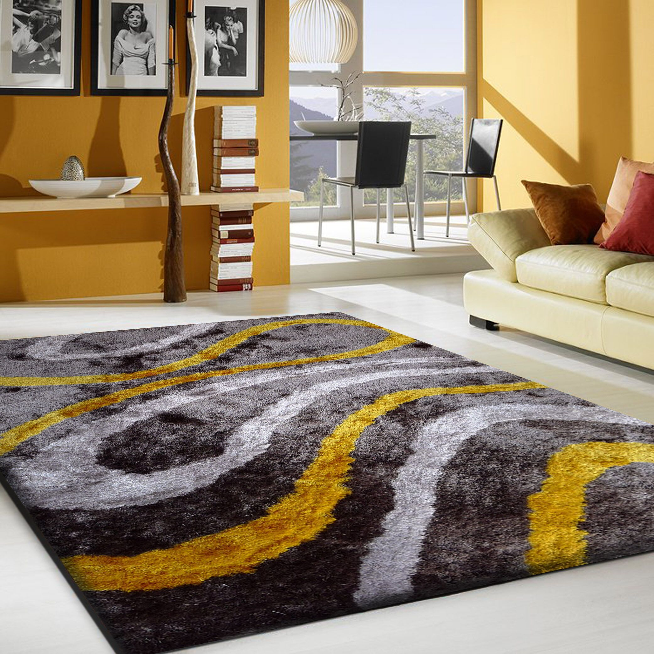 San Michele Hand Tufted Gray/Yellow Area Rug Rug Size: Rectangle 4' x 5'4