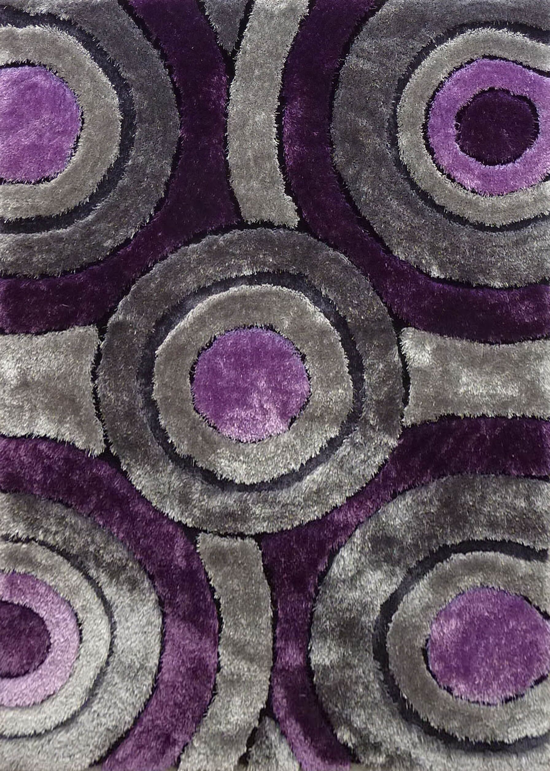 Orrstown Shaggy Hand-Tufted Gray/Purple Area Rug Rug Size: Rectangle 7'6