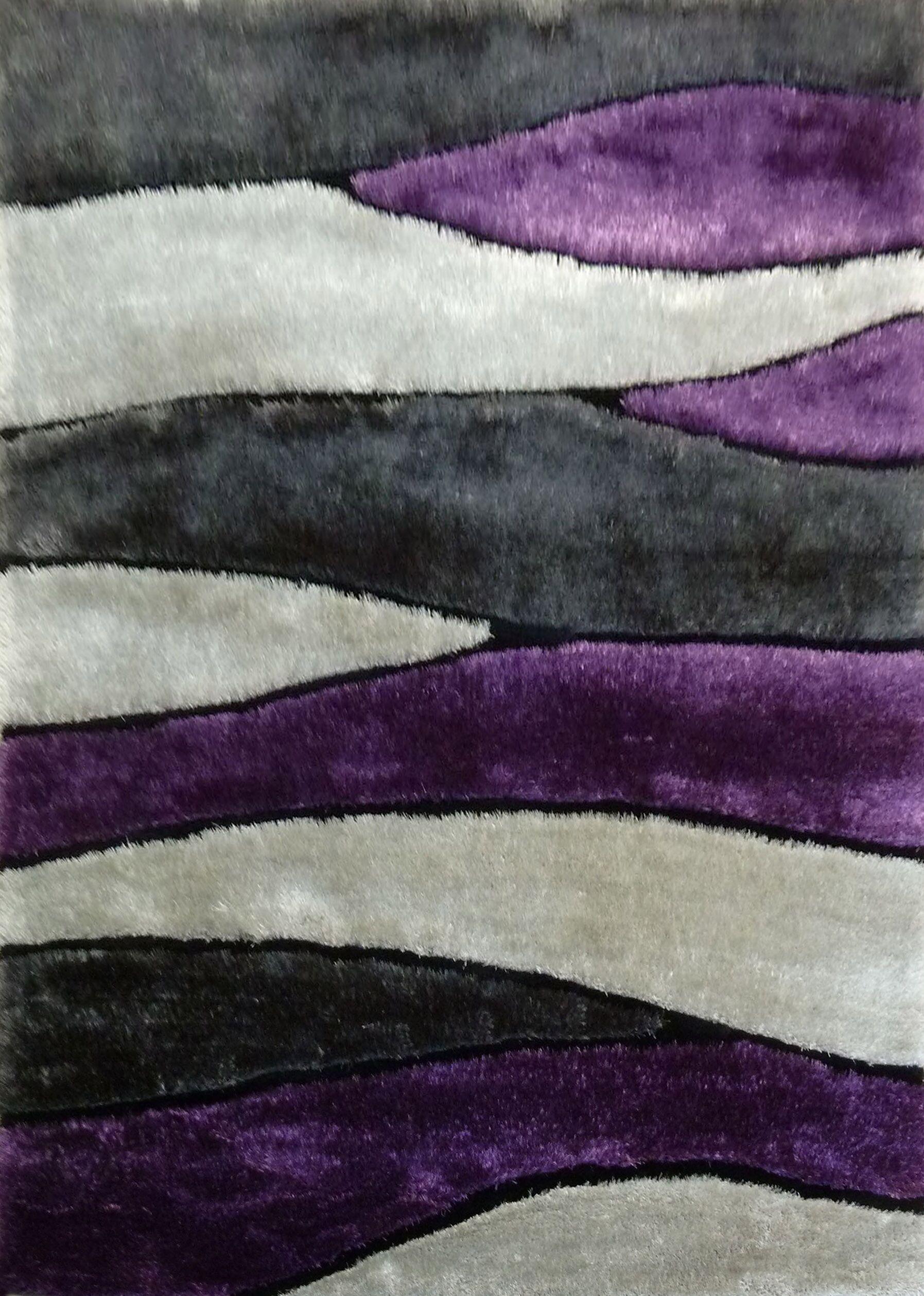 Owens Shaggy Hand-Tufted Gray/Purple Area Rug Rug Size: Rectangle 7'6