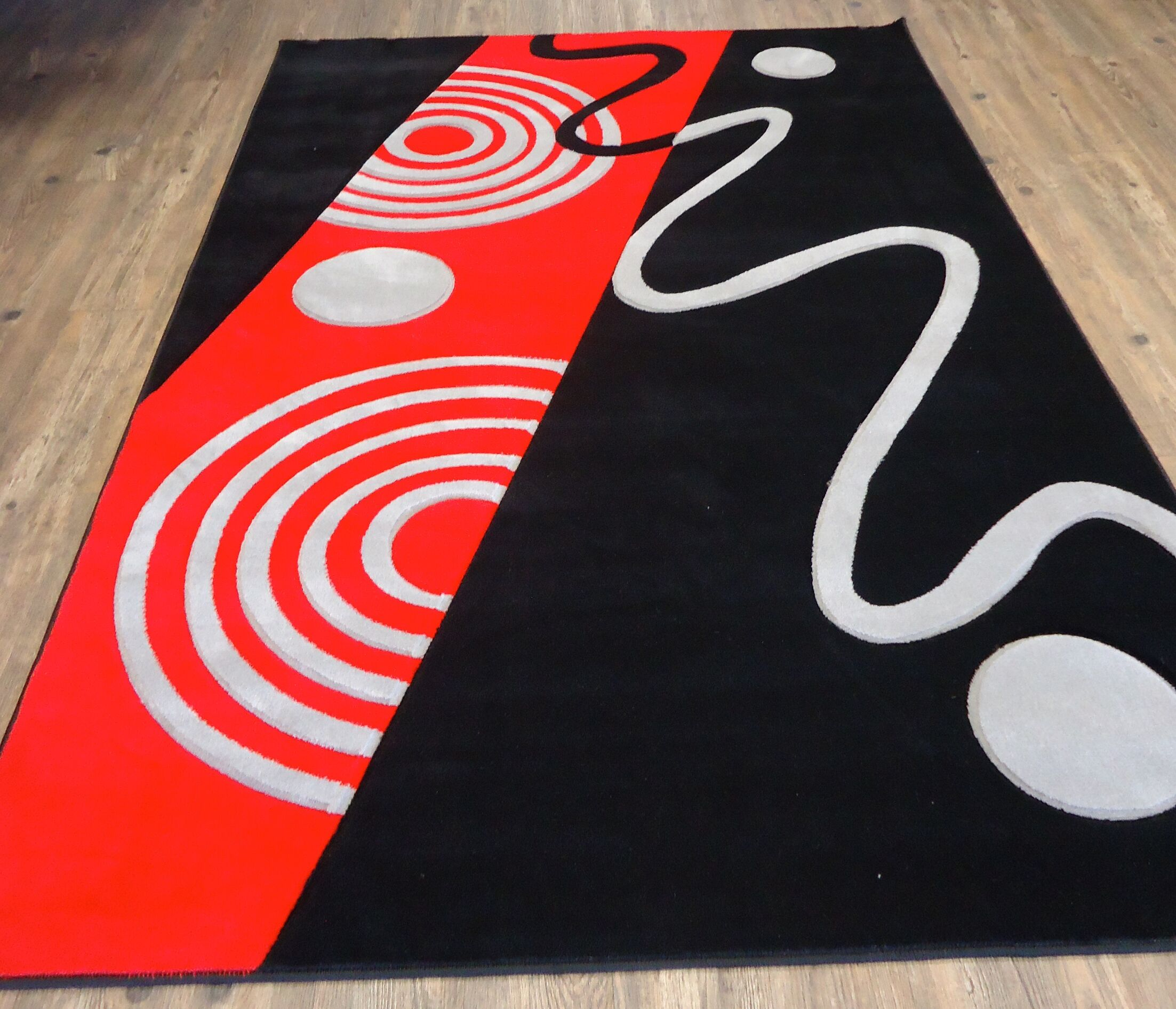 One-of-a-Kind Croom Hand Woven Black/Red Area Rug