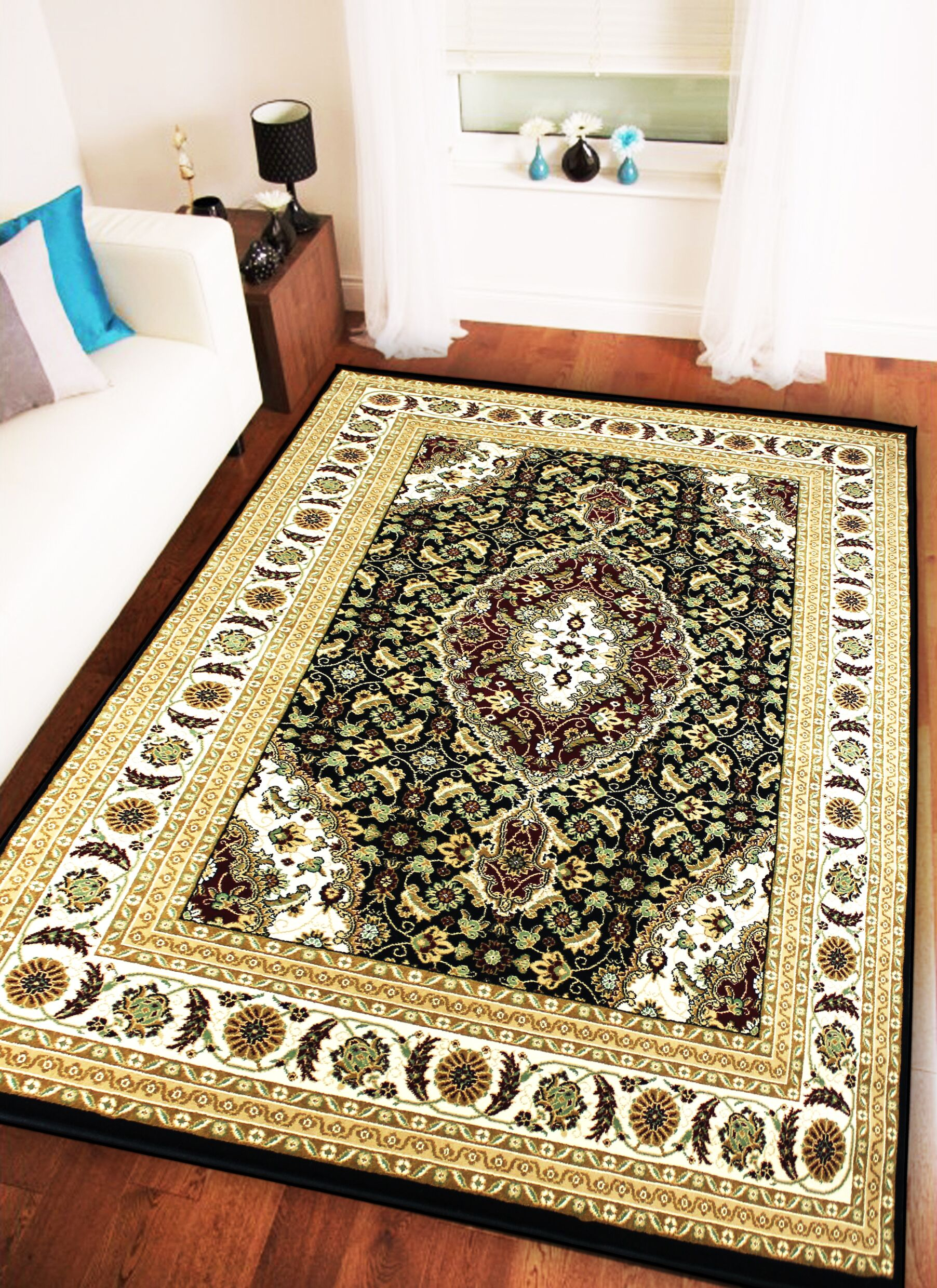 Boody Traditional Oriental Black/Ivory Area Rug Rug Size: Rectangle 5'4