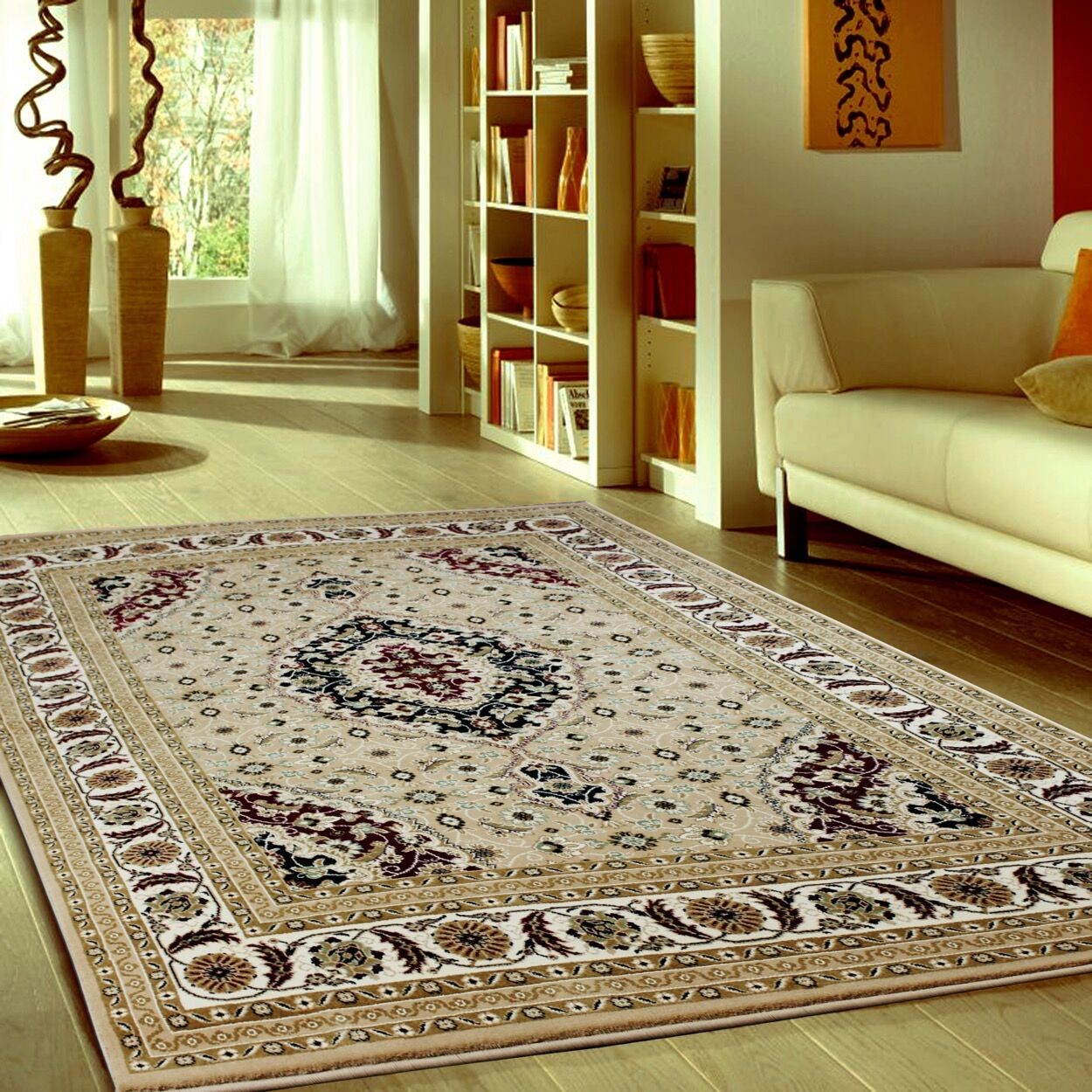 Boody Traditional Oriental Beige Area Rug Rug Size: Rectangle 5'4
