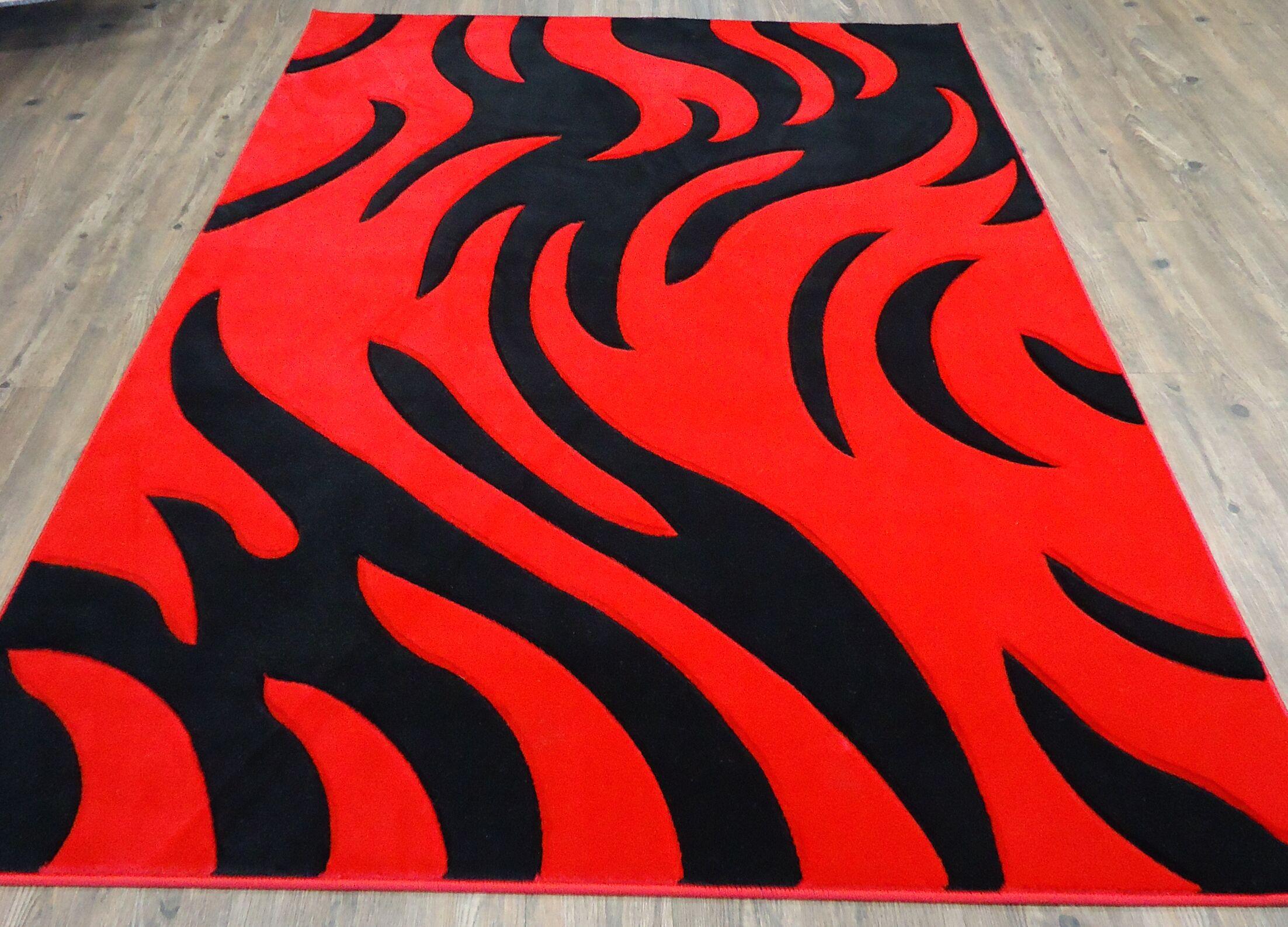 Haigler Red Area Rug Rug Size: Rectangle 5'4