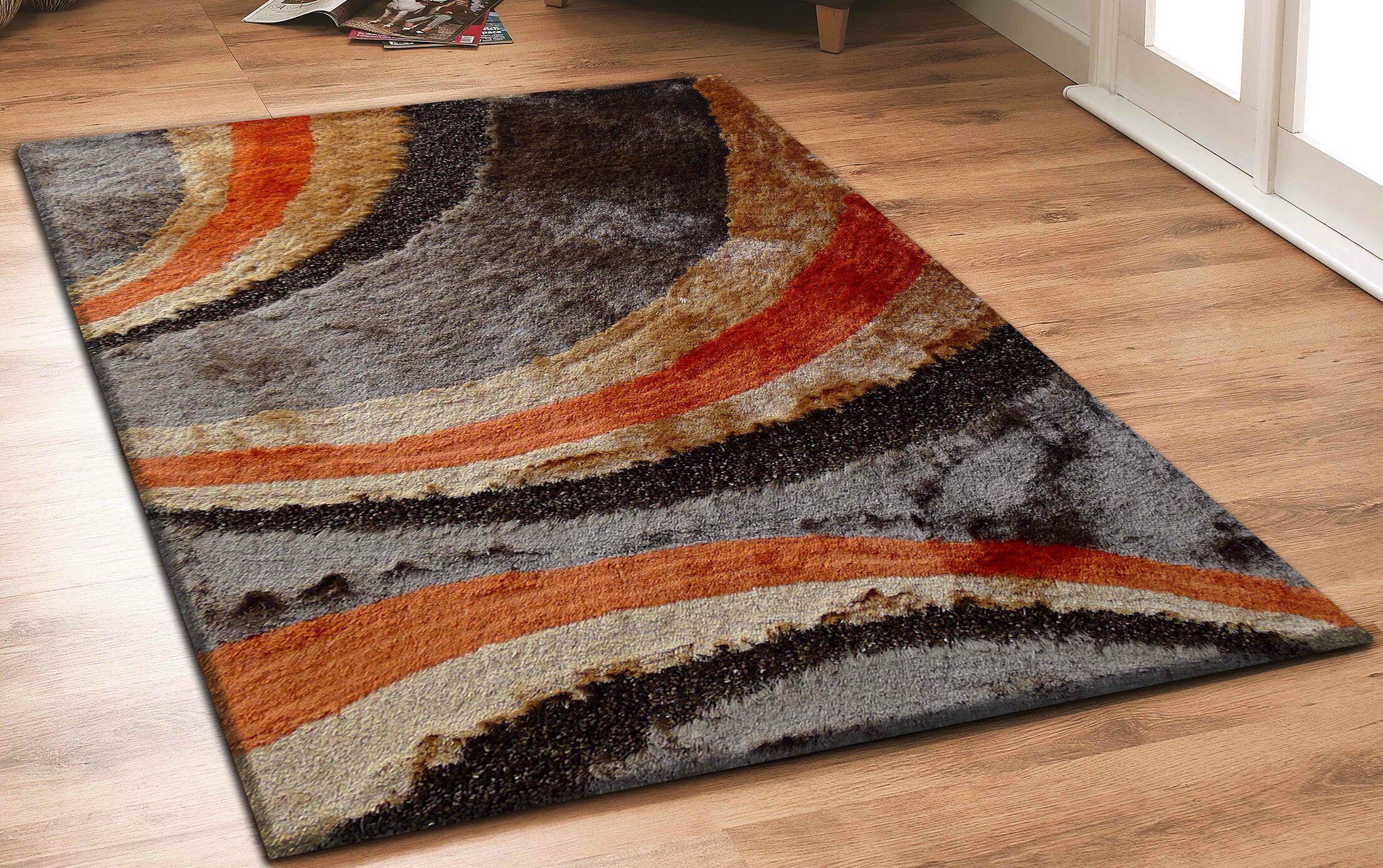 Hand-Tufted Orange/Brown Area Rug