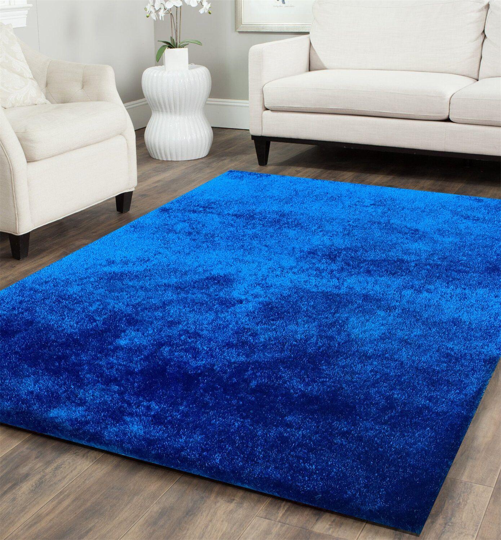 Heineman Solid Shag Hand-Tufted Royal Blue Area Rug Rug Size: Rectangle 7'6
