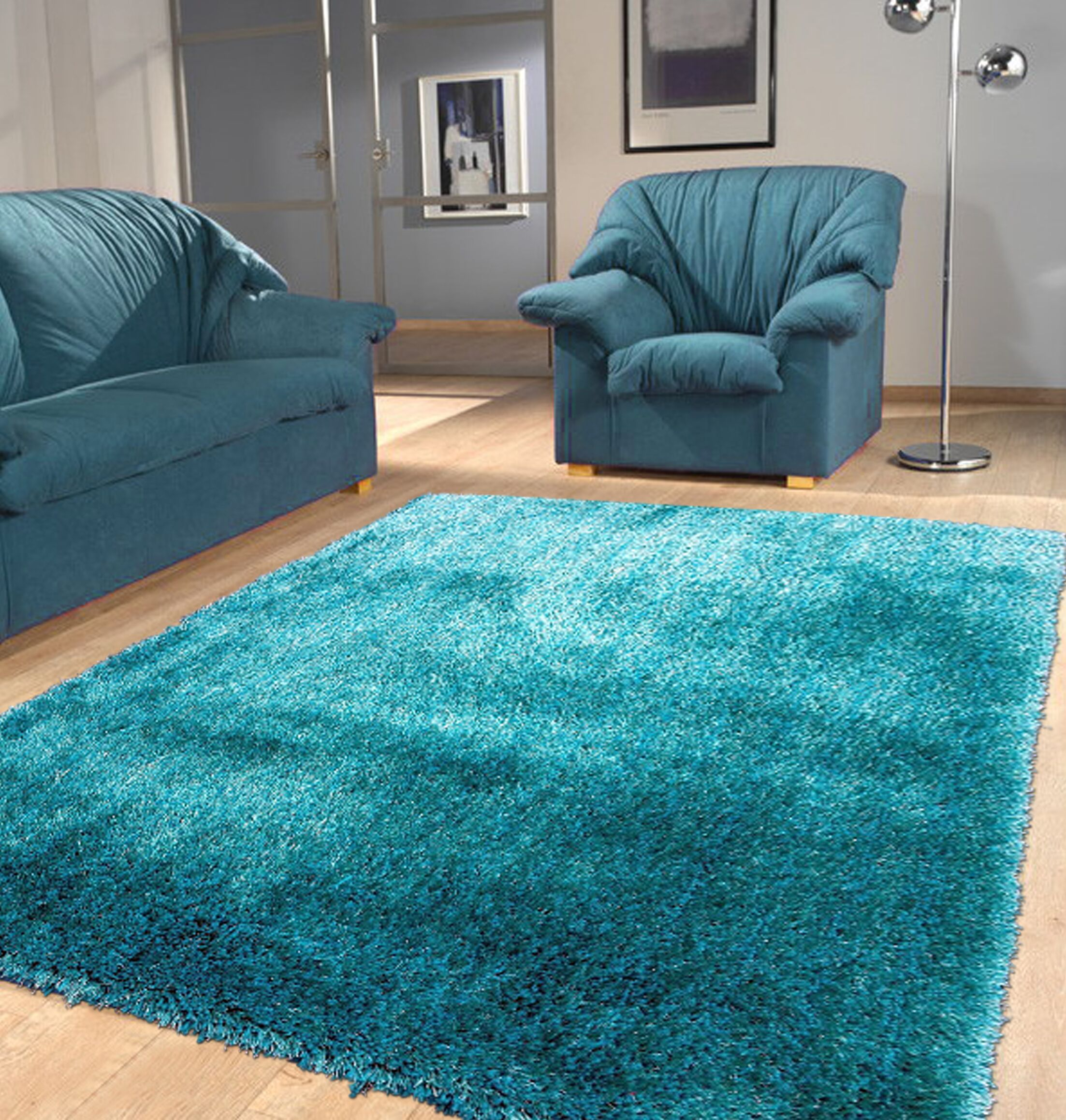 Port Pirie Shag Hand Tufted Turquoise Area Rug Rug Size: Rectangle 5' x 7'