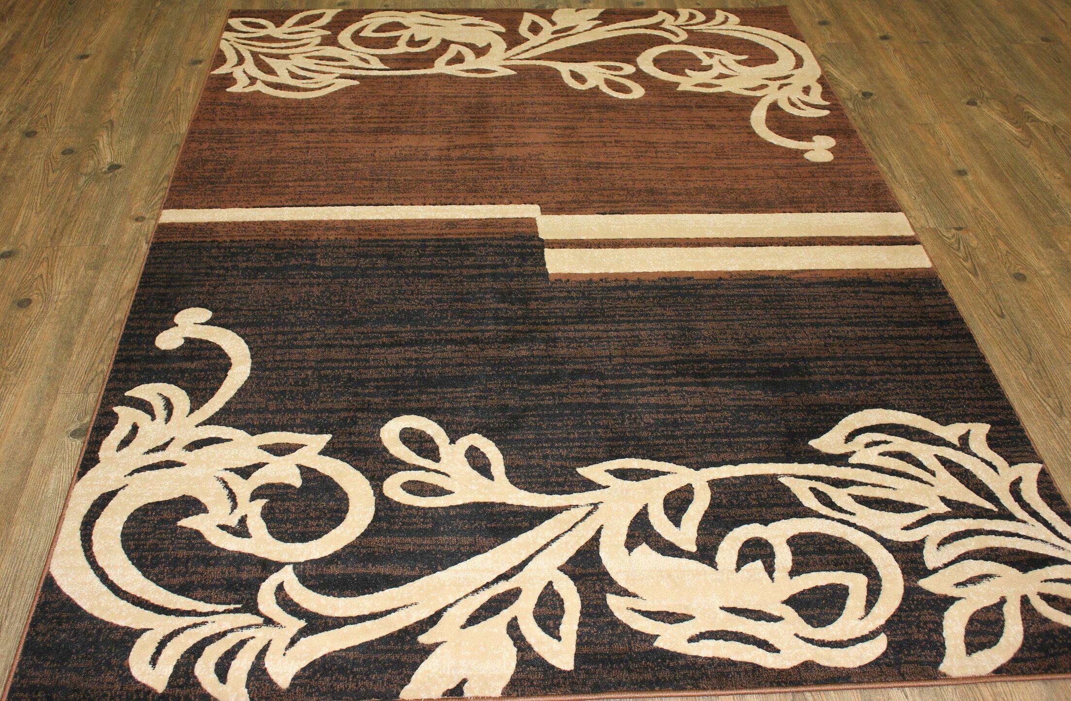 Temaraia Brown/Black Indoor Area Rug Rug Size: Rectangle 8' x 11'