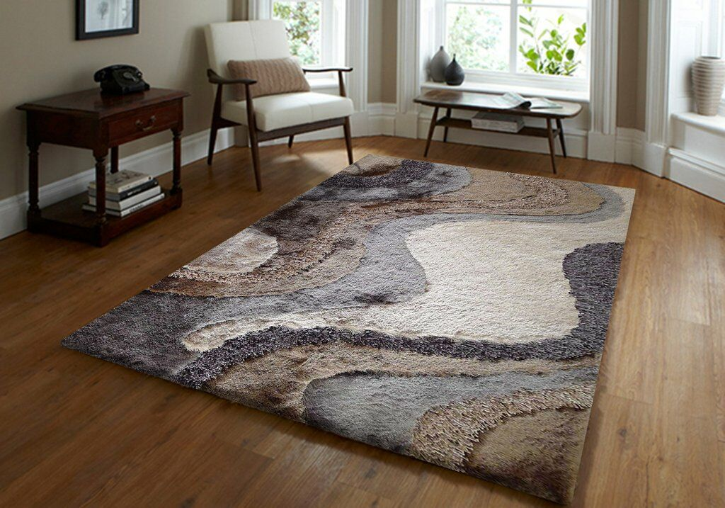 Padillo Shaggy Hand-Tufted Beige Area Rug