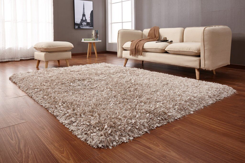 Heineman Solid Shag Hand-Tufted Beige Area Rug Rug Size: Rectangle 5' x 7'