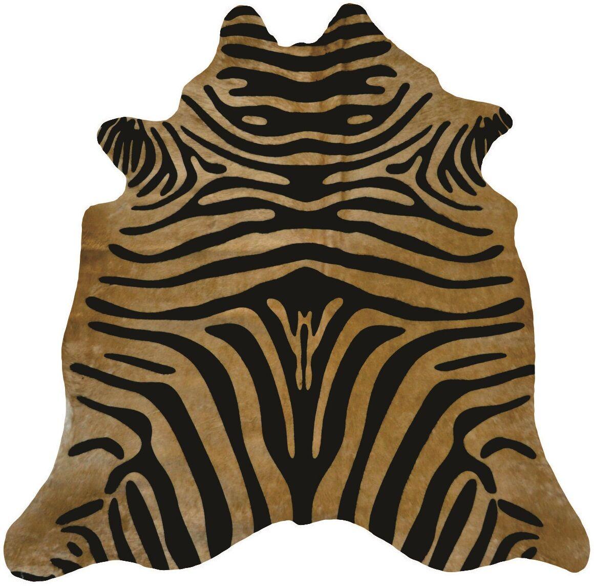 Astonishing Exquisite Zebra Design Vibrant Hand-Woven Black/Caramel Area Rug