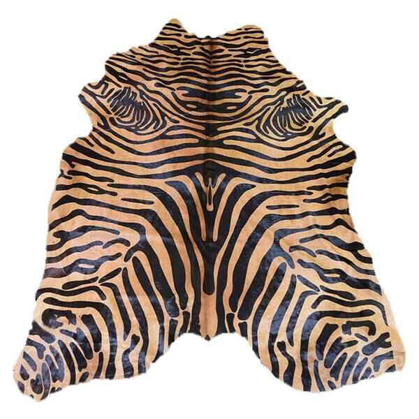 Astonishing Soft Zebra Design Vibrant Hand-Woven Black/Caramel Area Rug