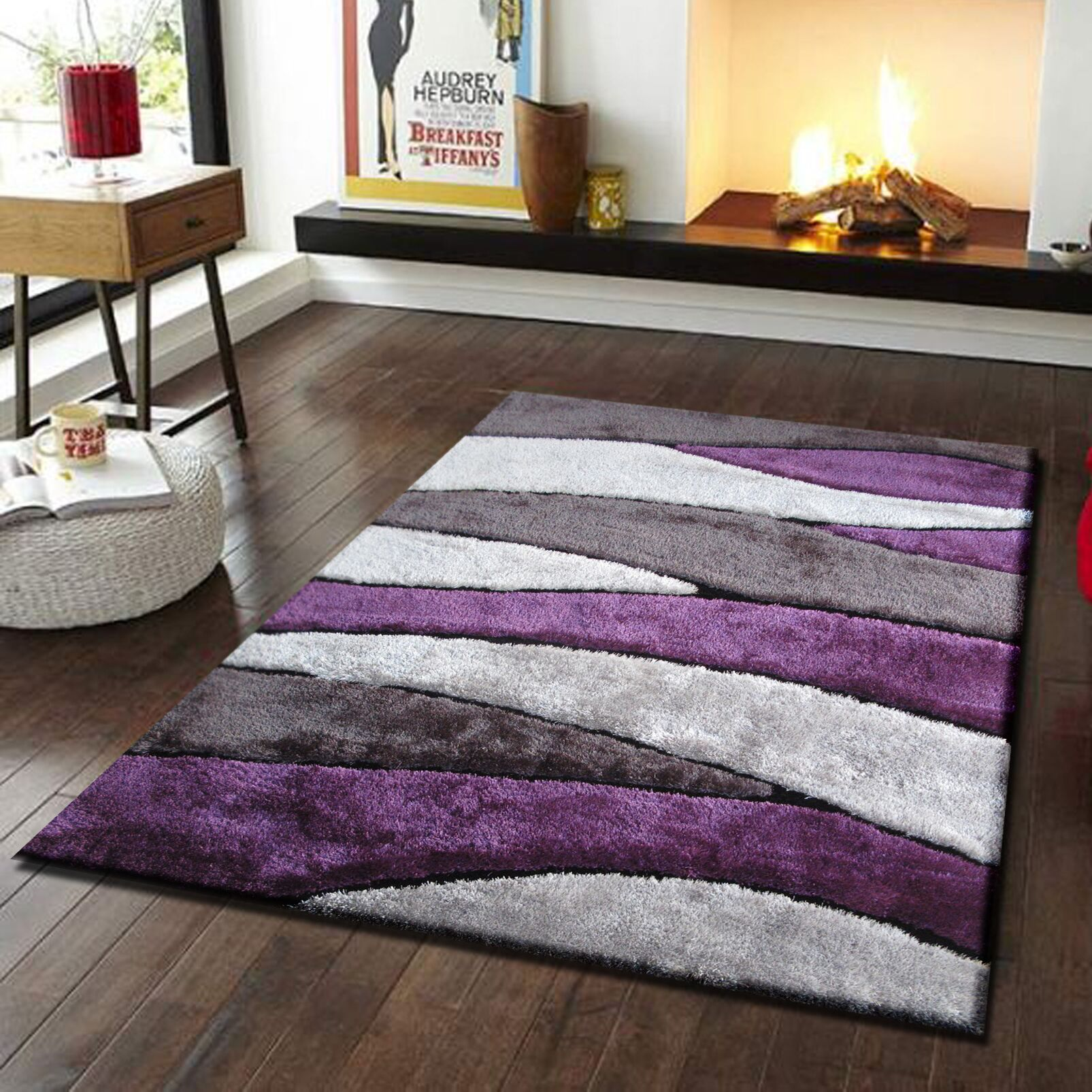 Living Shag Purple/Gray Rug Rug Size: 5' x 7'