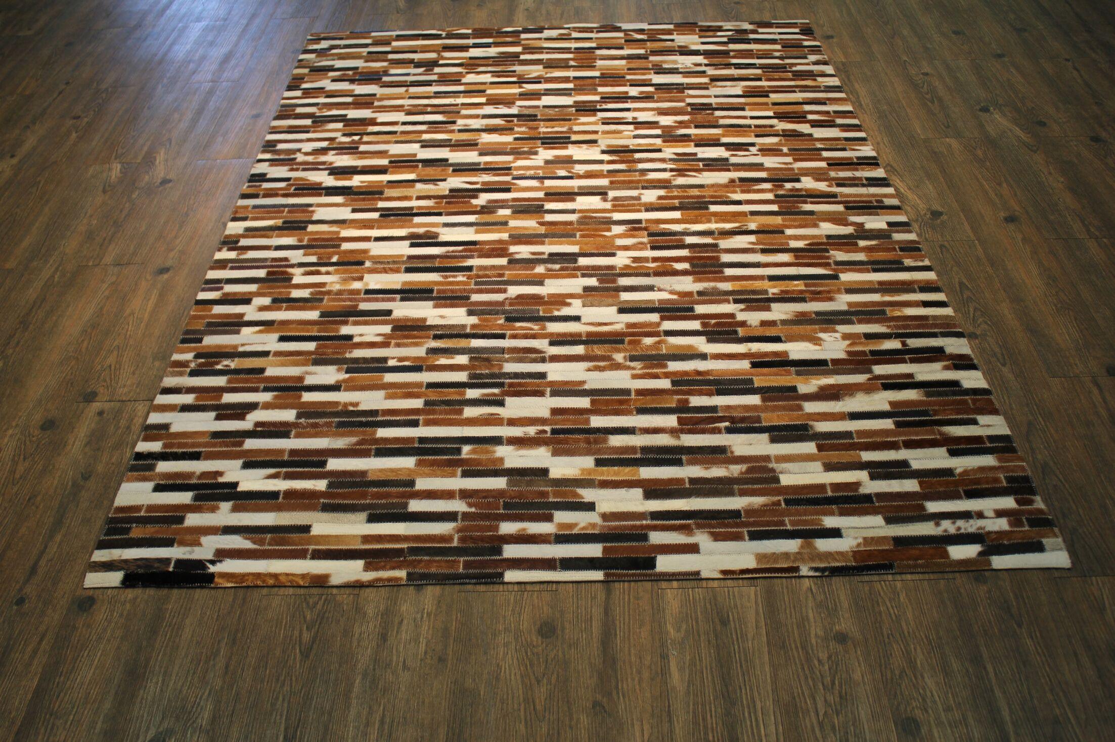 One-of-a-Kind Cincinnati Authentic Handmade Cowhide Brown/Beige Area Rug