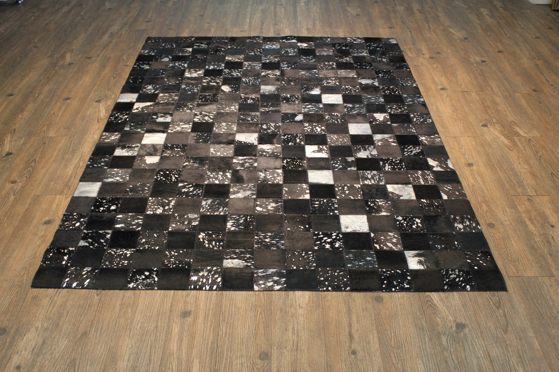One-of-a-Kind Oconner Hand-Woven Cowhide Black/Gray Area Rug