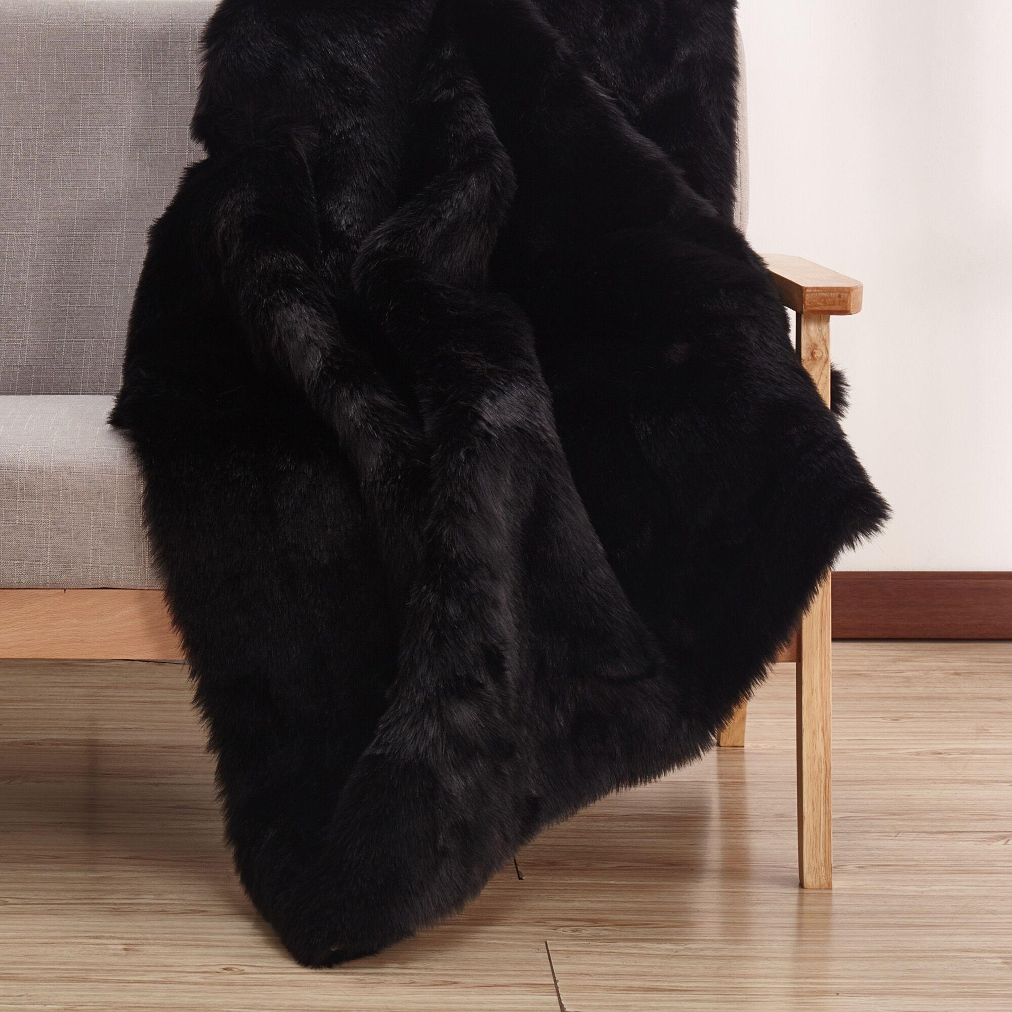 Demaris Faux Fur Black Area Rug