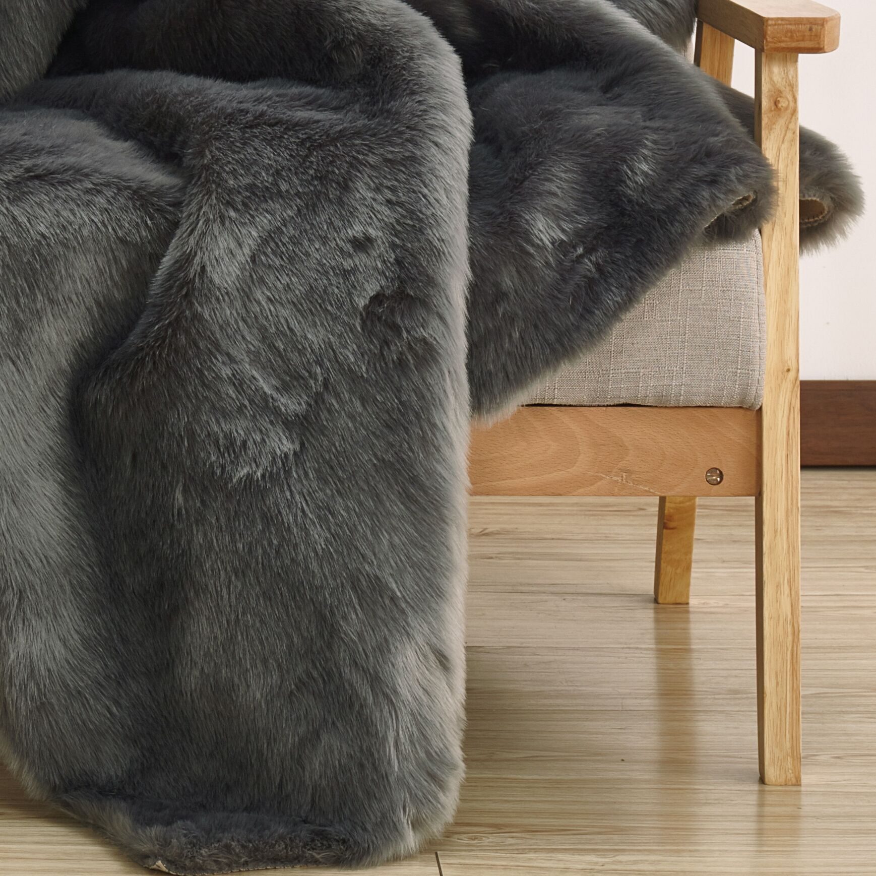 Welsey Faux Fur Gray Area Rug
