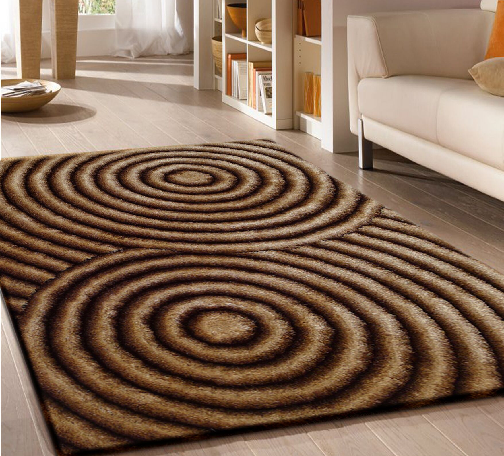 Pavonia Hand-Tufted Gold/Brown Area Rug Rug Size: Rectangle 5' x 7'