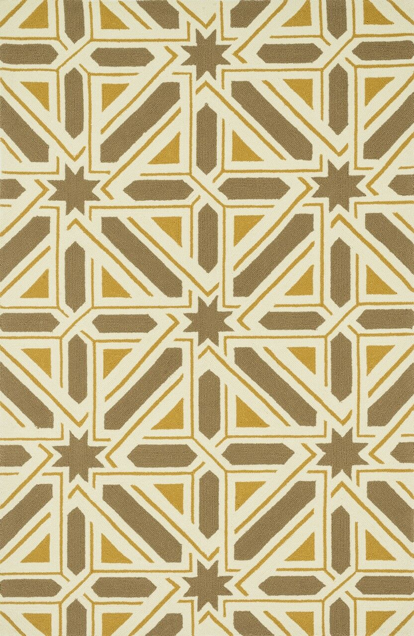 Palm Springs Hand-Hooked Taupe/Gold Indoor/Outdoor Area Rug Rug Size: Rectangle 5' x 7'6