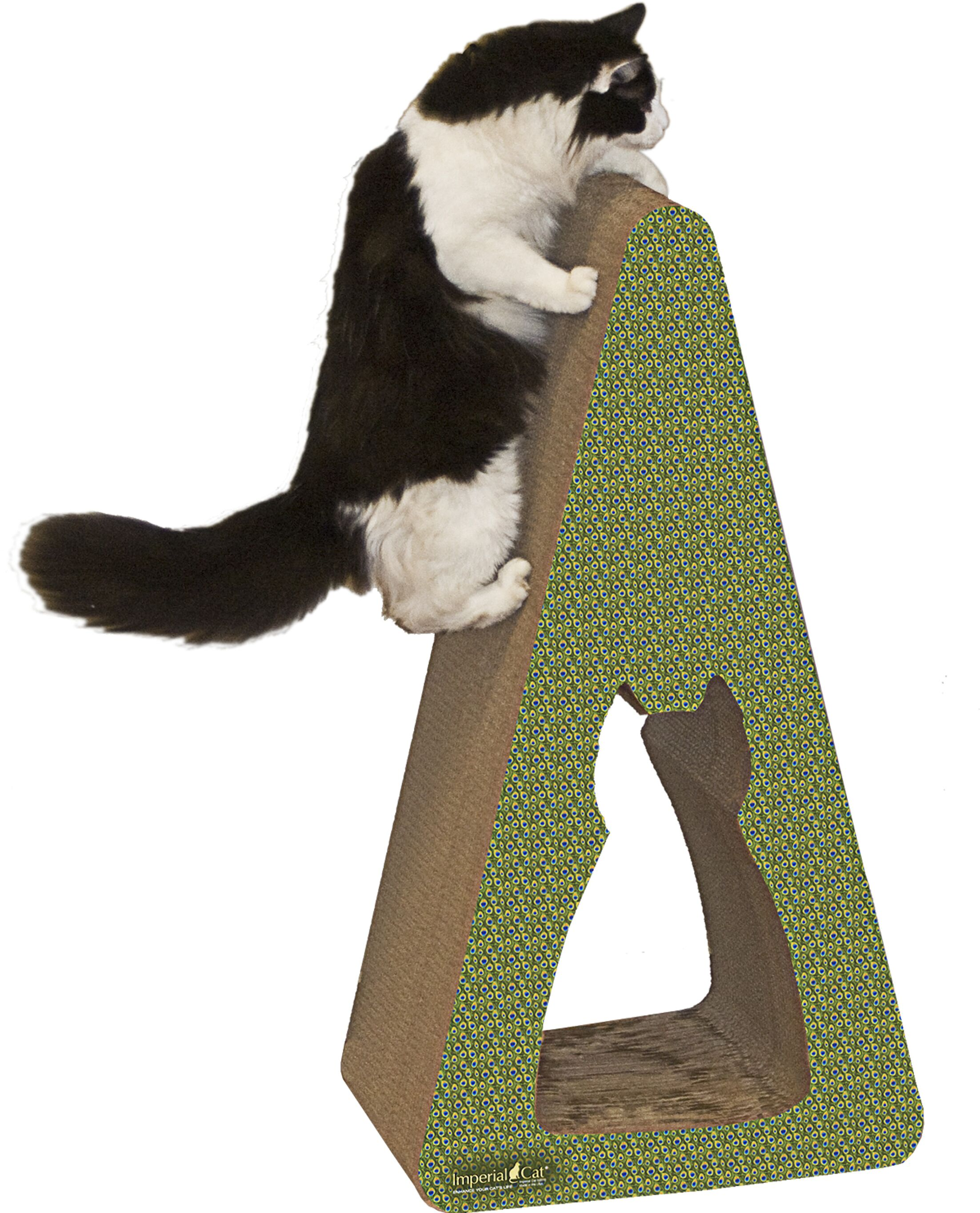 Scratch 'n Shapes Pyramid Recycled Paper Scratching Post Pattern: Peacock