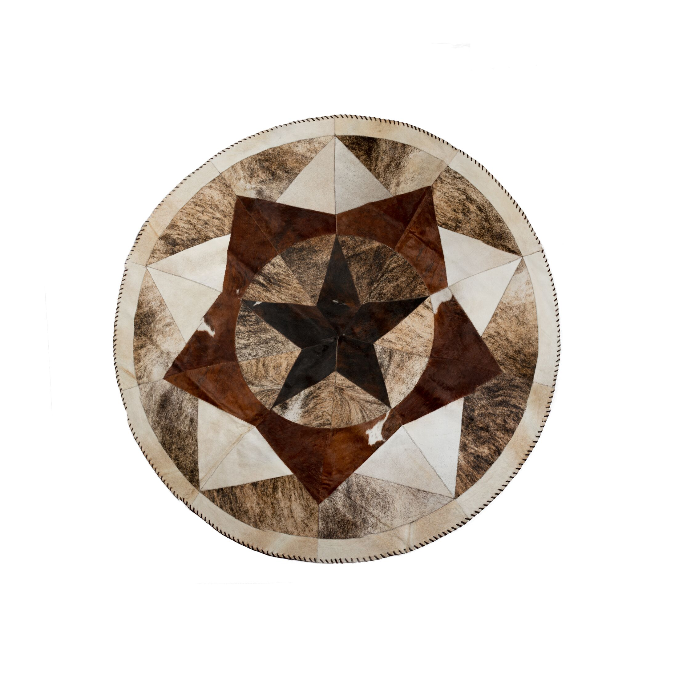 Griffith Stitch Hand-Woven Cowhide Brown/Black Area Rug Rug Size: Round 7'