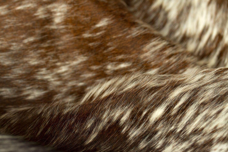 Abhinav Hand-Woven Cowhide Pepper Chocolate/White Area Rug