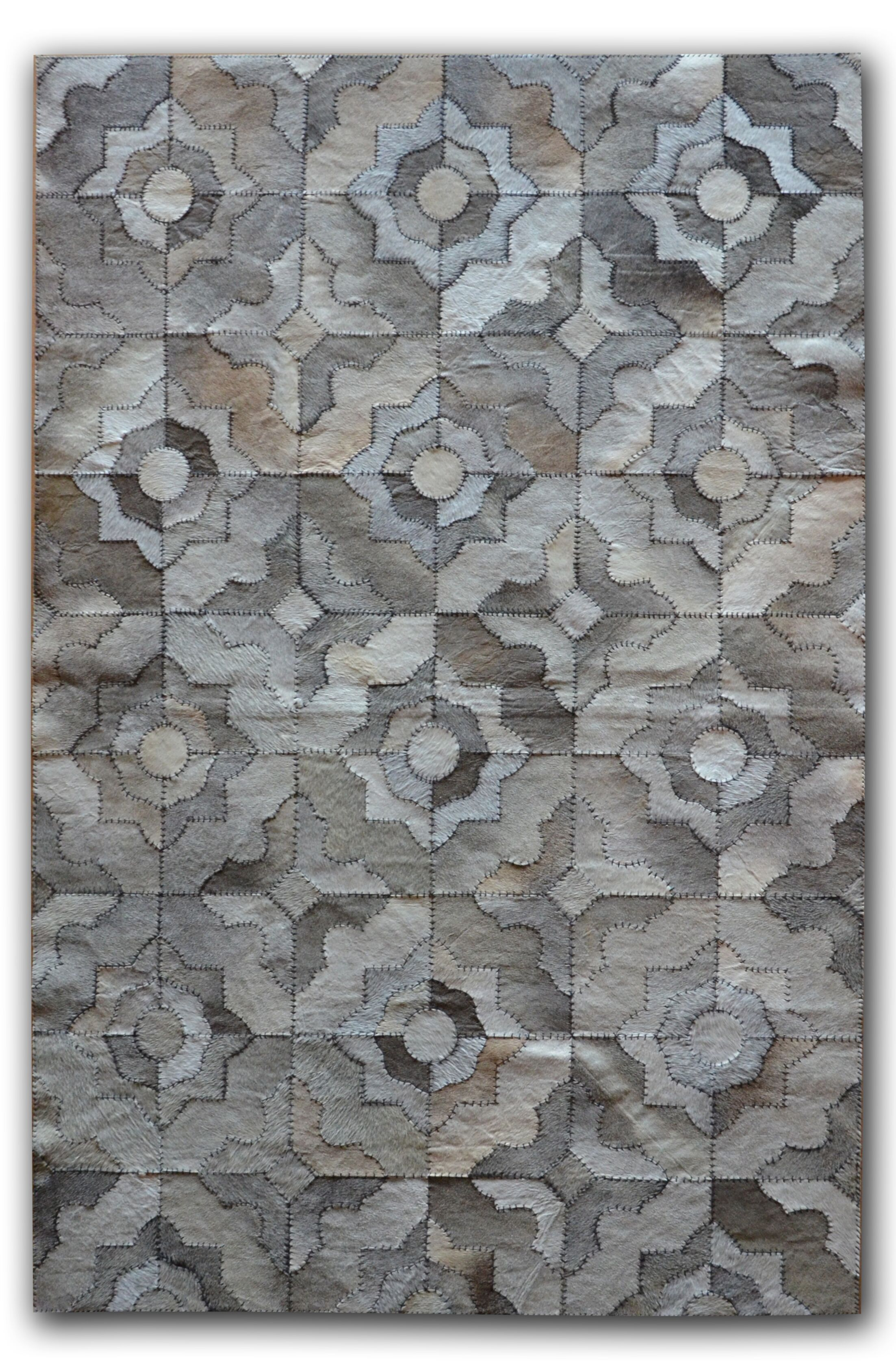 Bettis Natural Stitch Hand-Tufted Cowhide Marrakeche Gray Area Rug Rug Size: Rectangle 5' x 8'