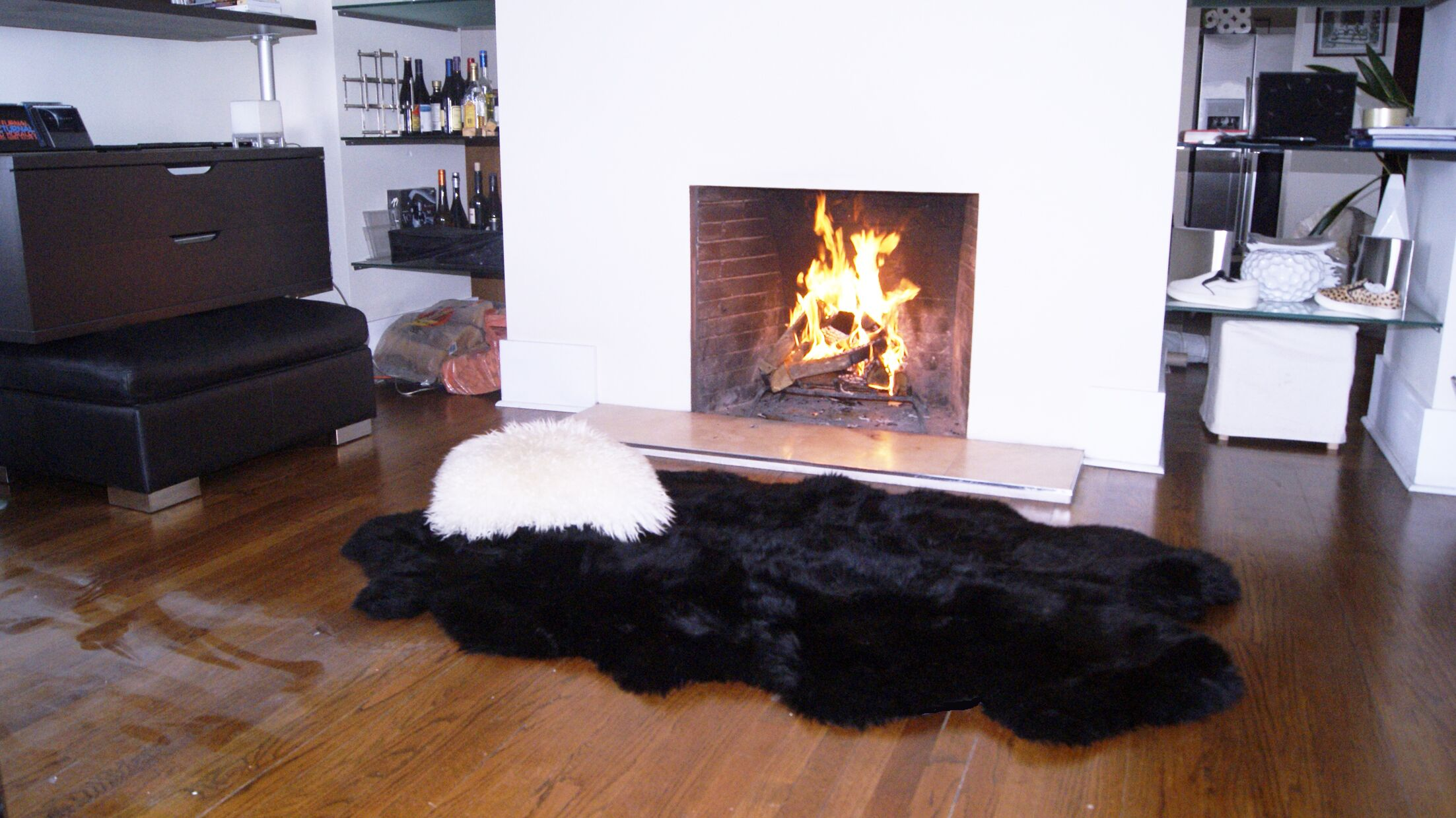 Hand-Knotted Black Sheepskin Area Rug Rug Size:  Rectangle 7' x 3'