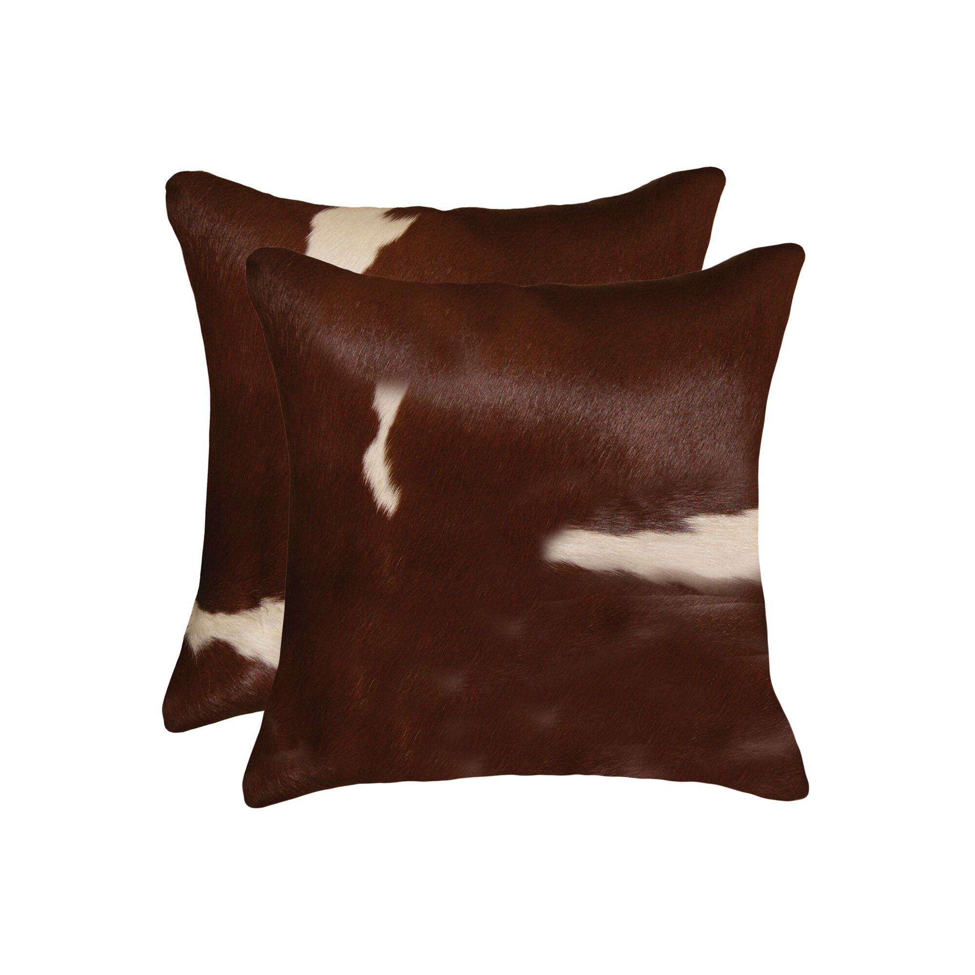 Graham Leather Throw Pillow Color: Brown/White