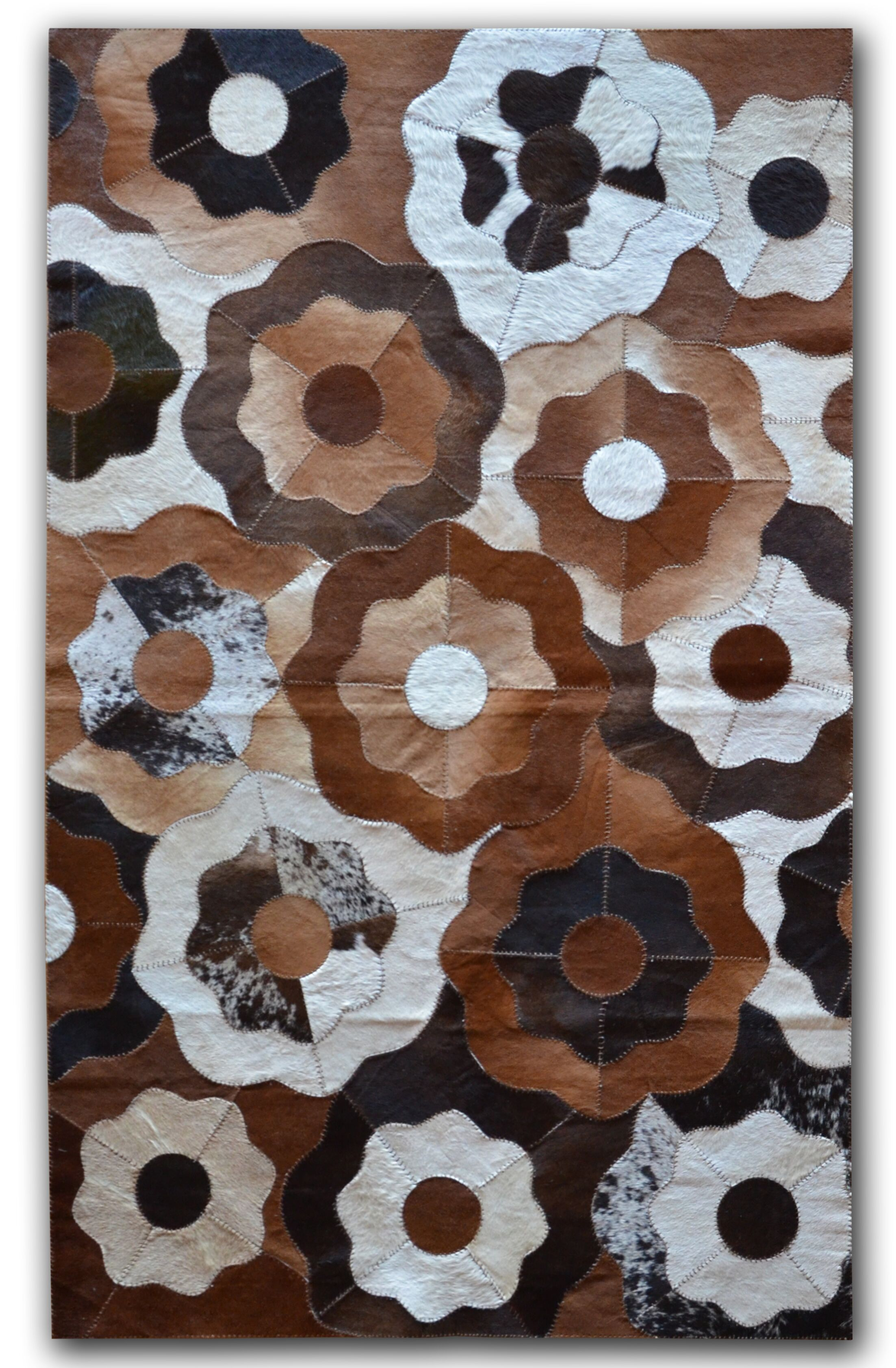 Creole Stitch Hand-Woven Cowhide Brown/Black Area Rug Rug Size: 8' x 10'