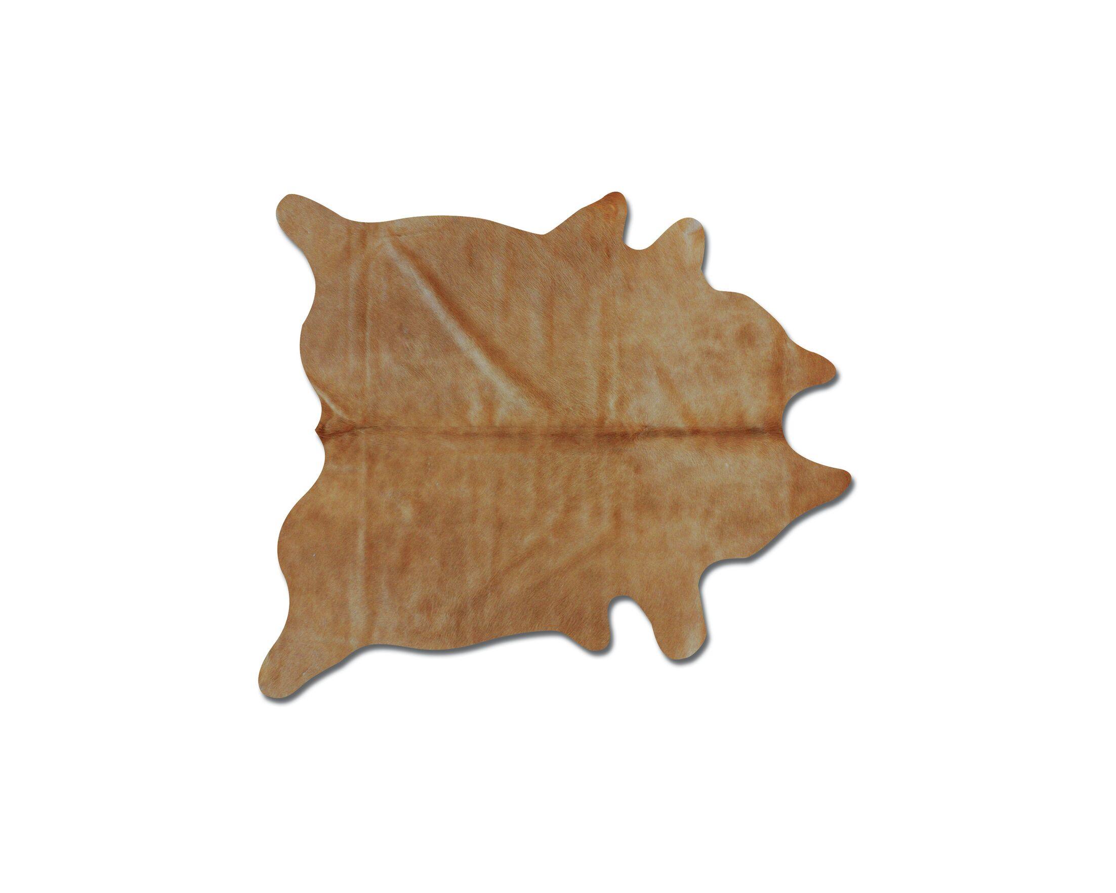 Plainsboro Hand-Woven Cowhide Tan Area Rug