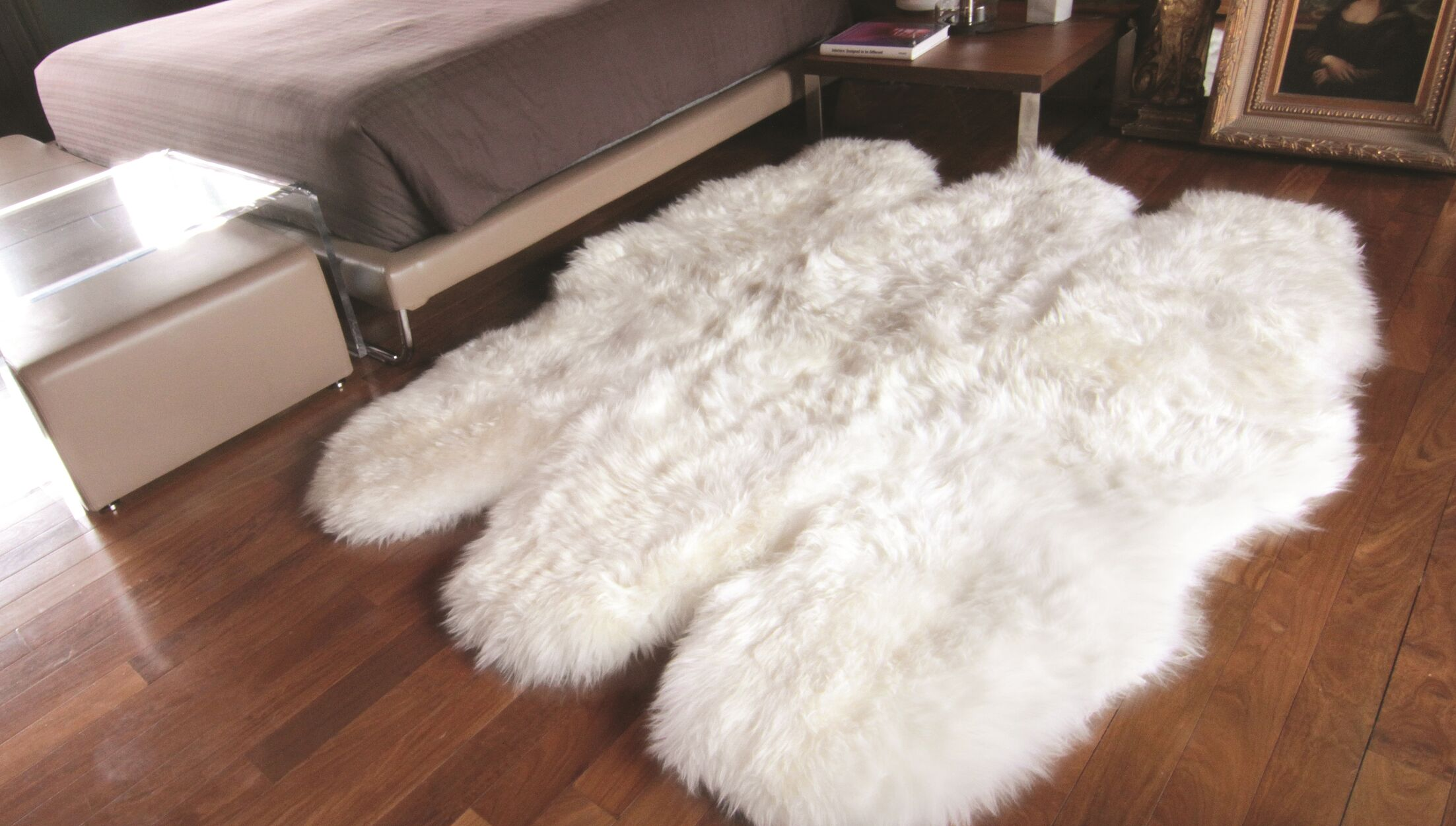 Rolande Hand-Woven Sheepskin White Area Rug Rug Size: 5' x 6'